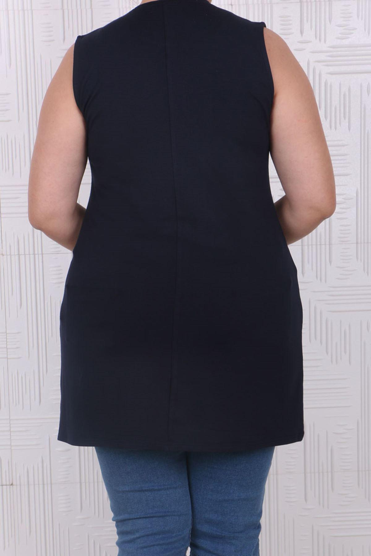 8507 Plus Size Basic Sleeveless Tunic- Navy blue