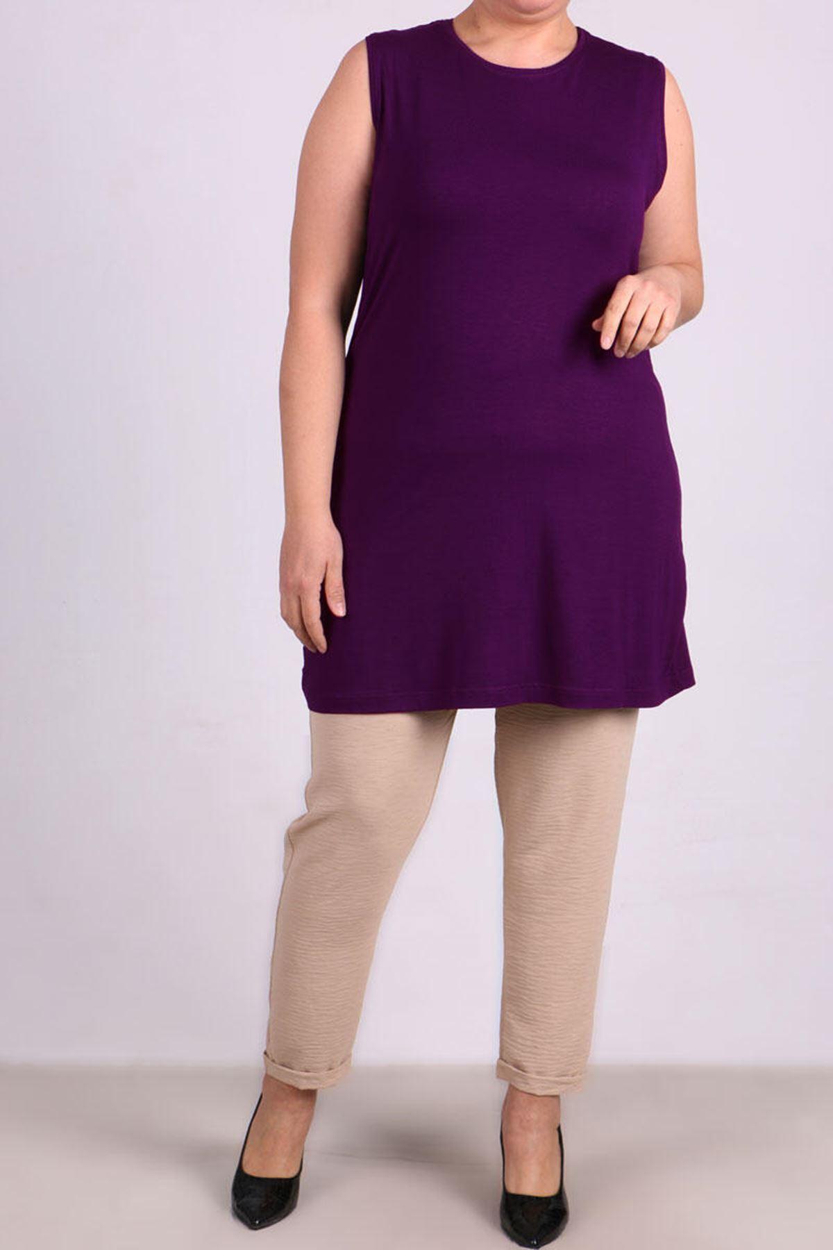8507 Plus Size Basic Sleeveless Tunic-Purple