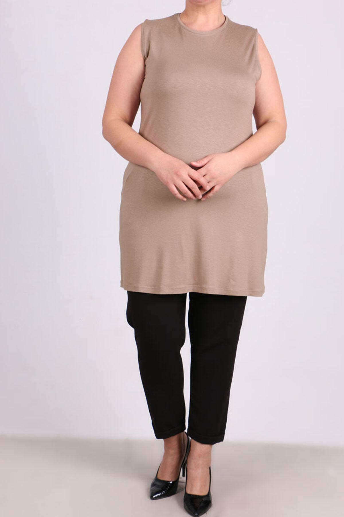 8507 Plus Size Basic Sleeveless Tunic- Mink