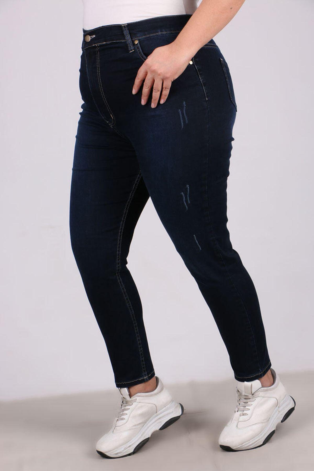 9117-1 Plus Size Skinny Leg Jeans - Dark Navy Blue