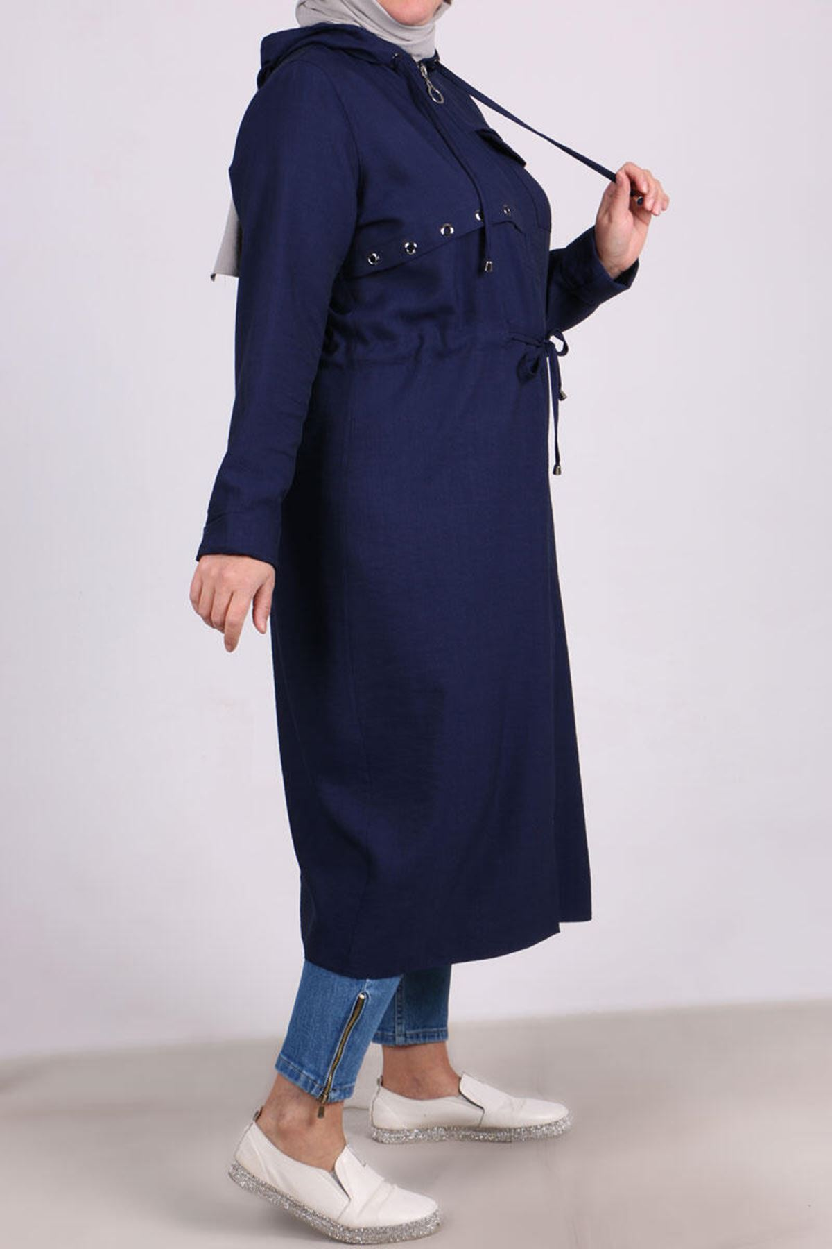 3143 Plus Size Hooded Rayon Lİnen Coat -Navy  Blue