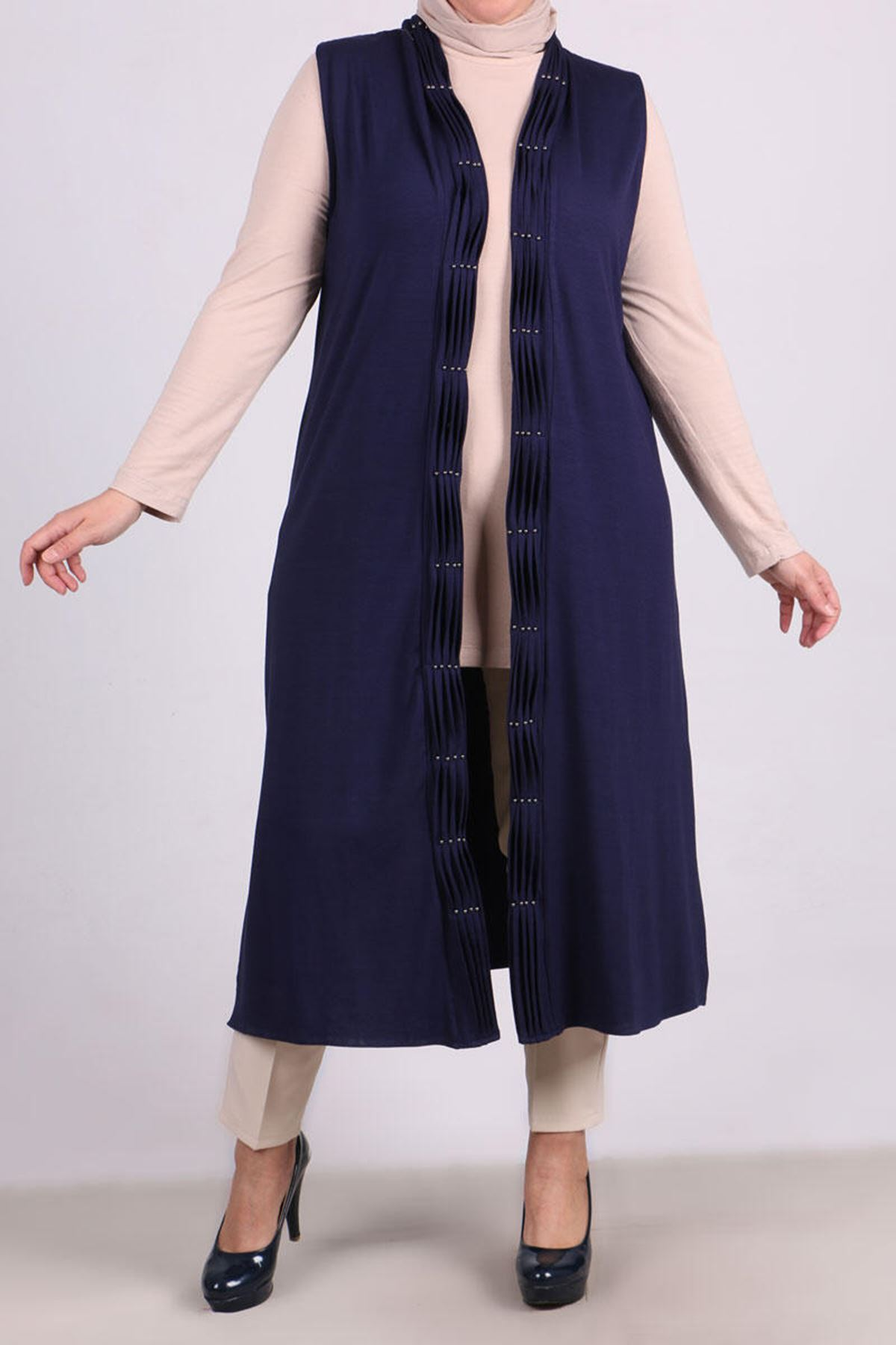 4050 Pleated-Pearly Plus Size Vest - Navy blue