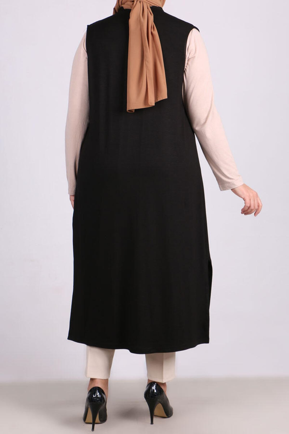 4050 Pleated-Pearly Plus Size Vest - Black