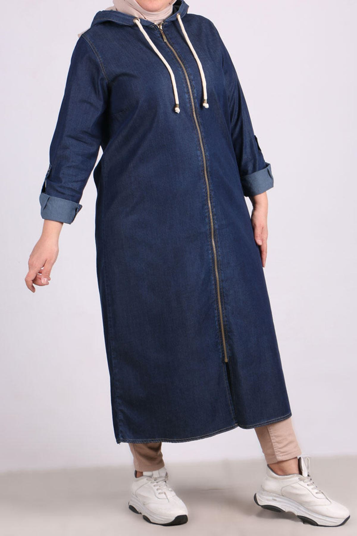 3146 Plus Size Hooded Jeans Coat - Navy Blue