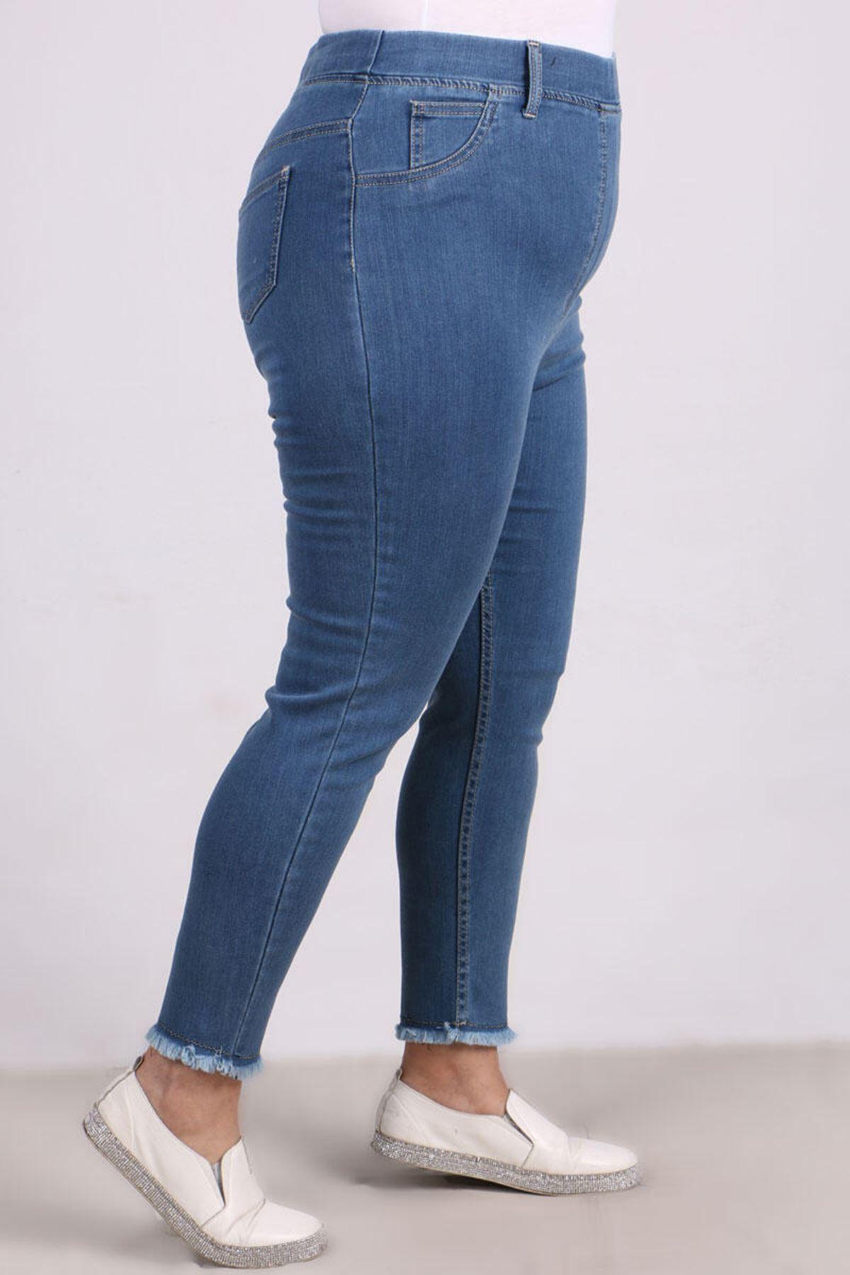 9138  Büyük Beden Beli Lastikli Püsküllü Dar Paça Kot Pantalon- Mavi