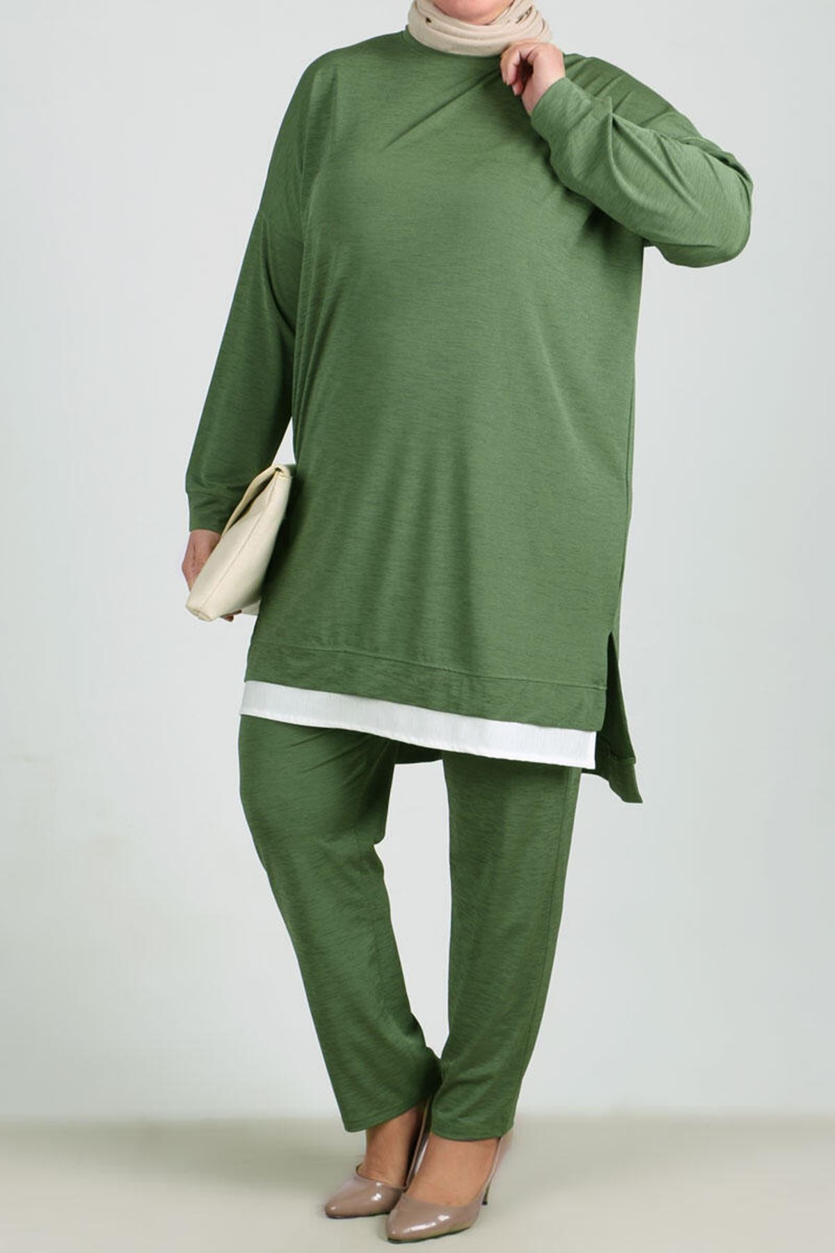 7677 Plus Size Garnished Two Piece Set with Tunic and Pants- Khaki