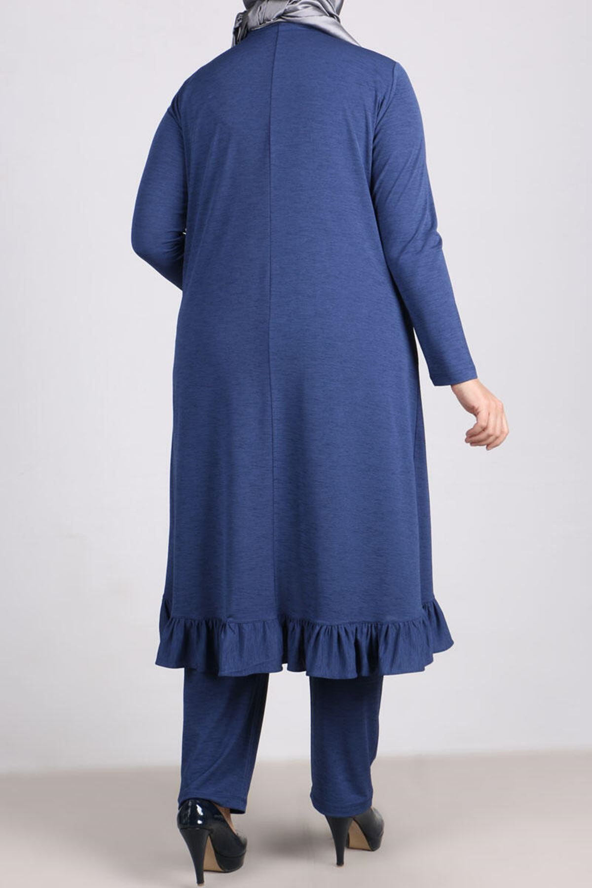 7686 Plus Size Two Piece Set with Tunic and Pants- Indigo