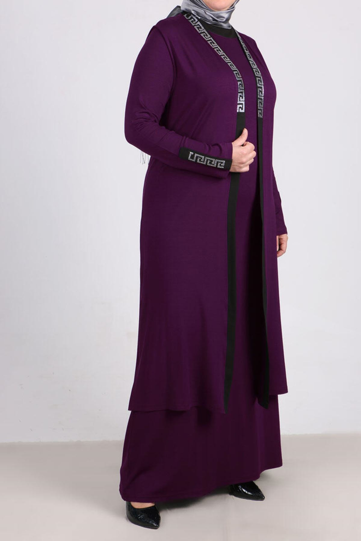 7211 Plus Size Two Piece Set with Dress and Vest - Purple