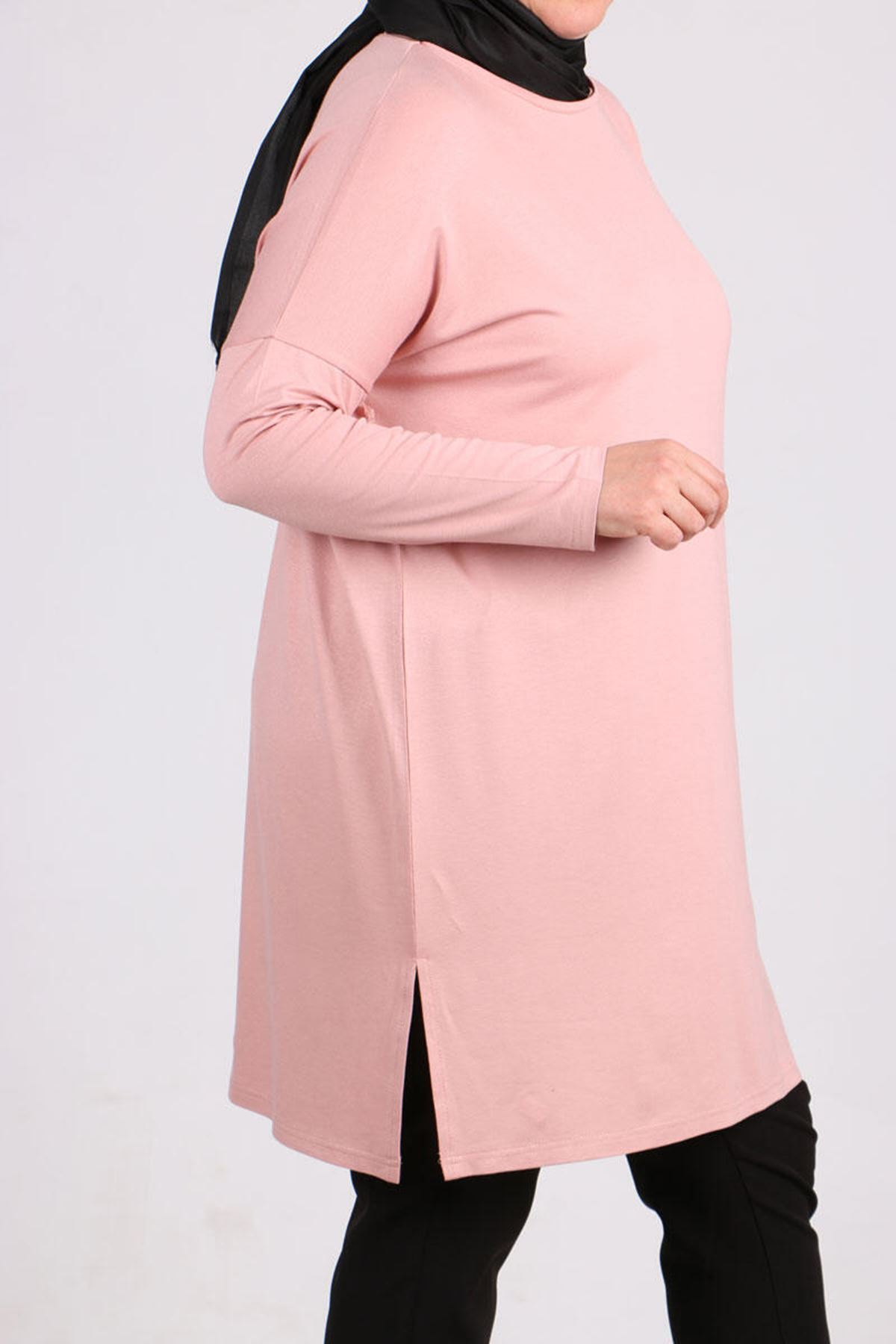 8442  Plus Size Tunic with Low Sleeve -  Powder
