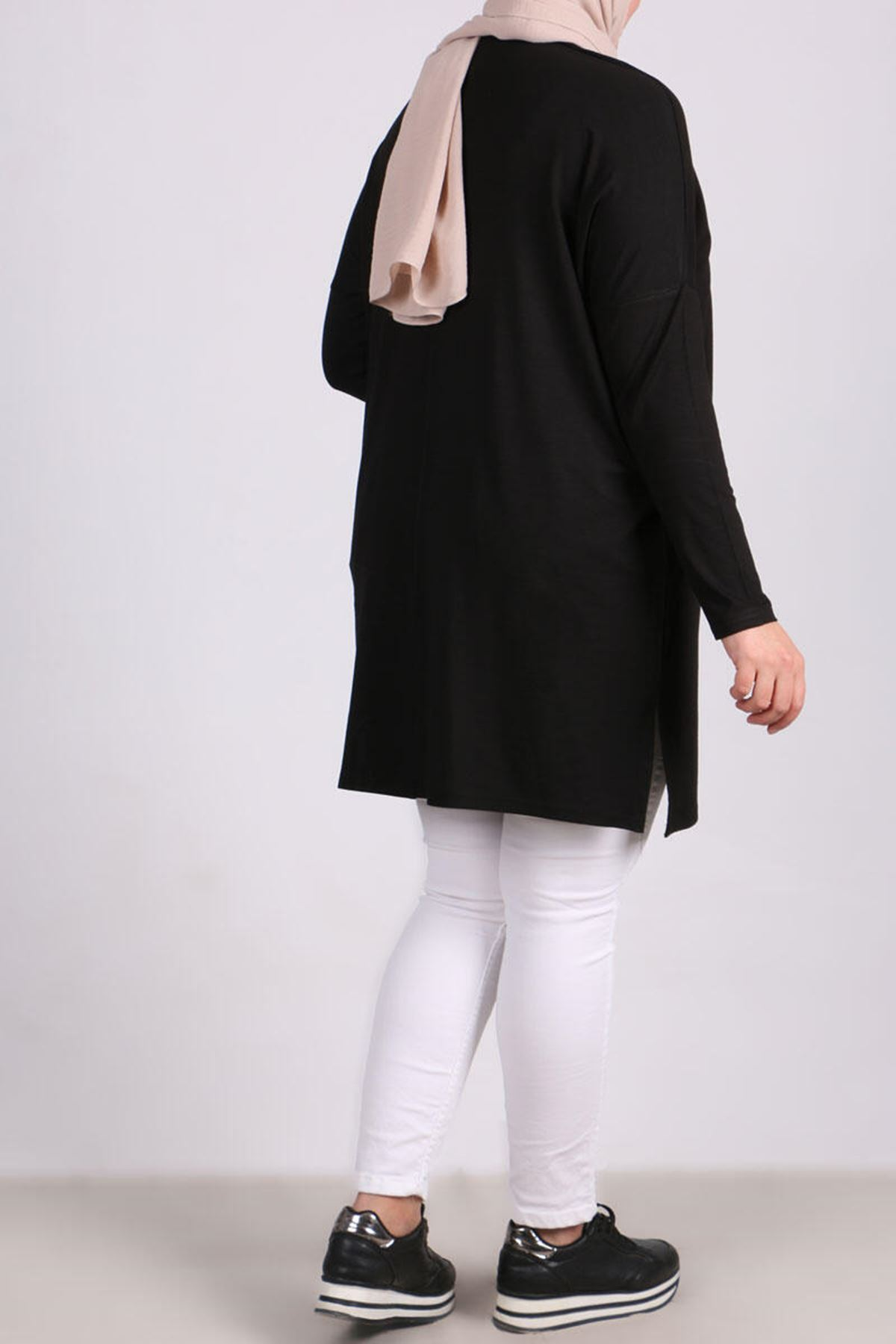 8442  Plus Size Tunic with Low Sleeve  -  Black