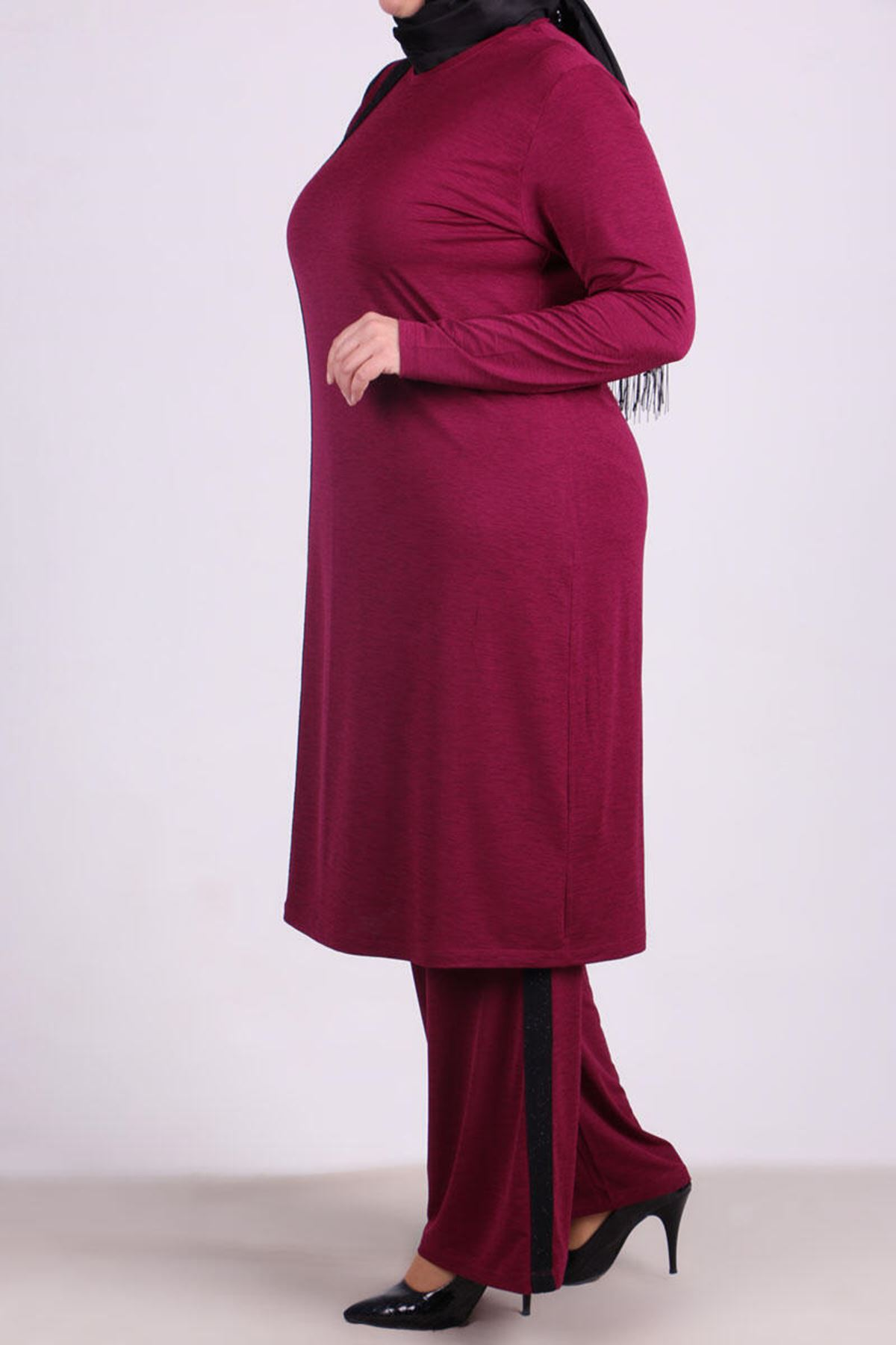 7683 Plus Size Two Piece Set with Tunic and Pants- Plum