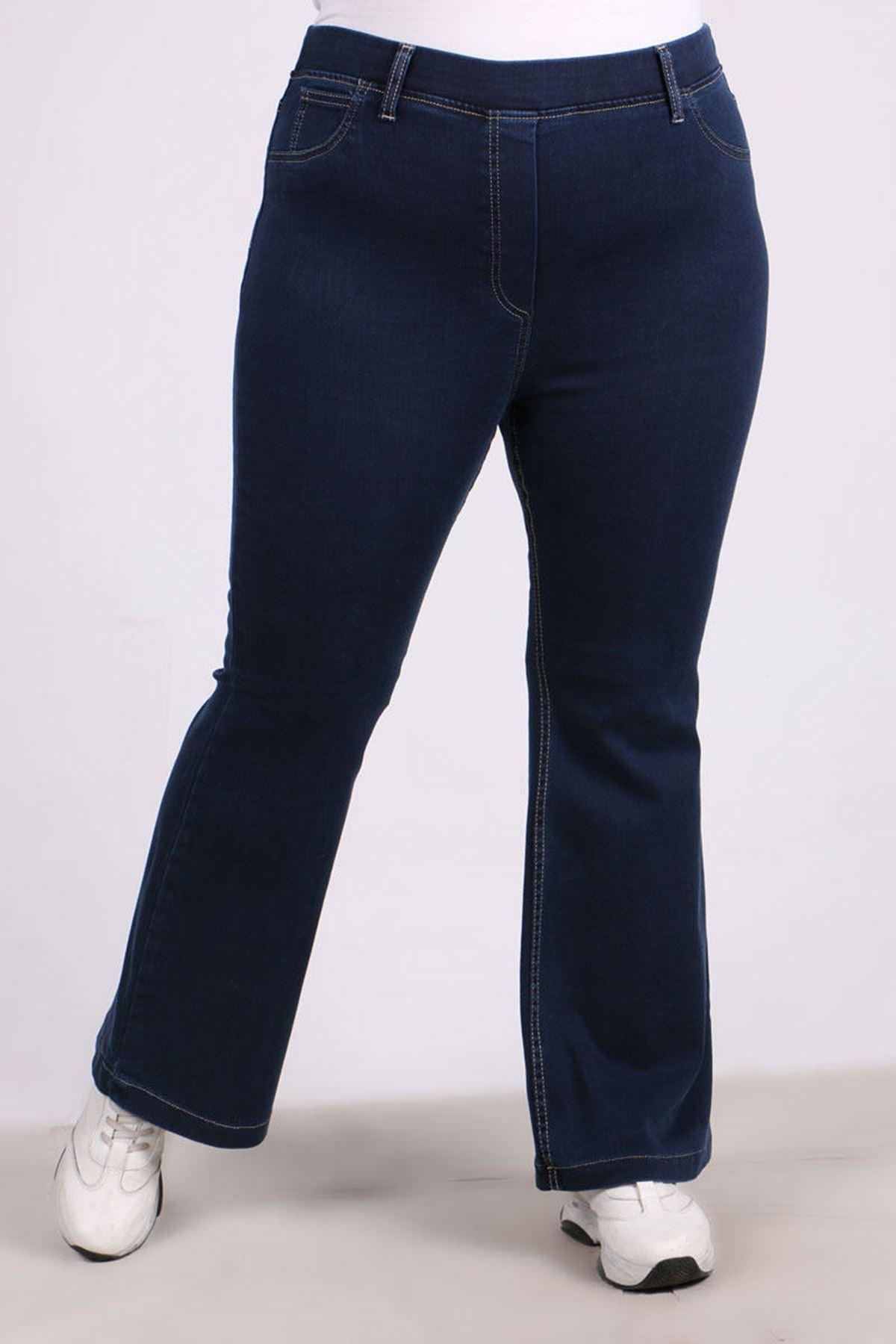 9137  Plus Size Elastic Waist Flared Jeans - Blue