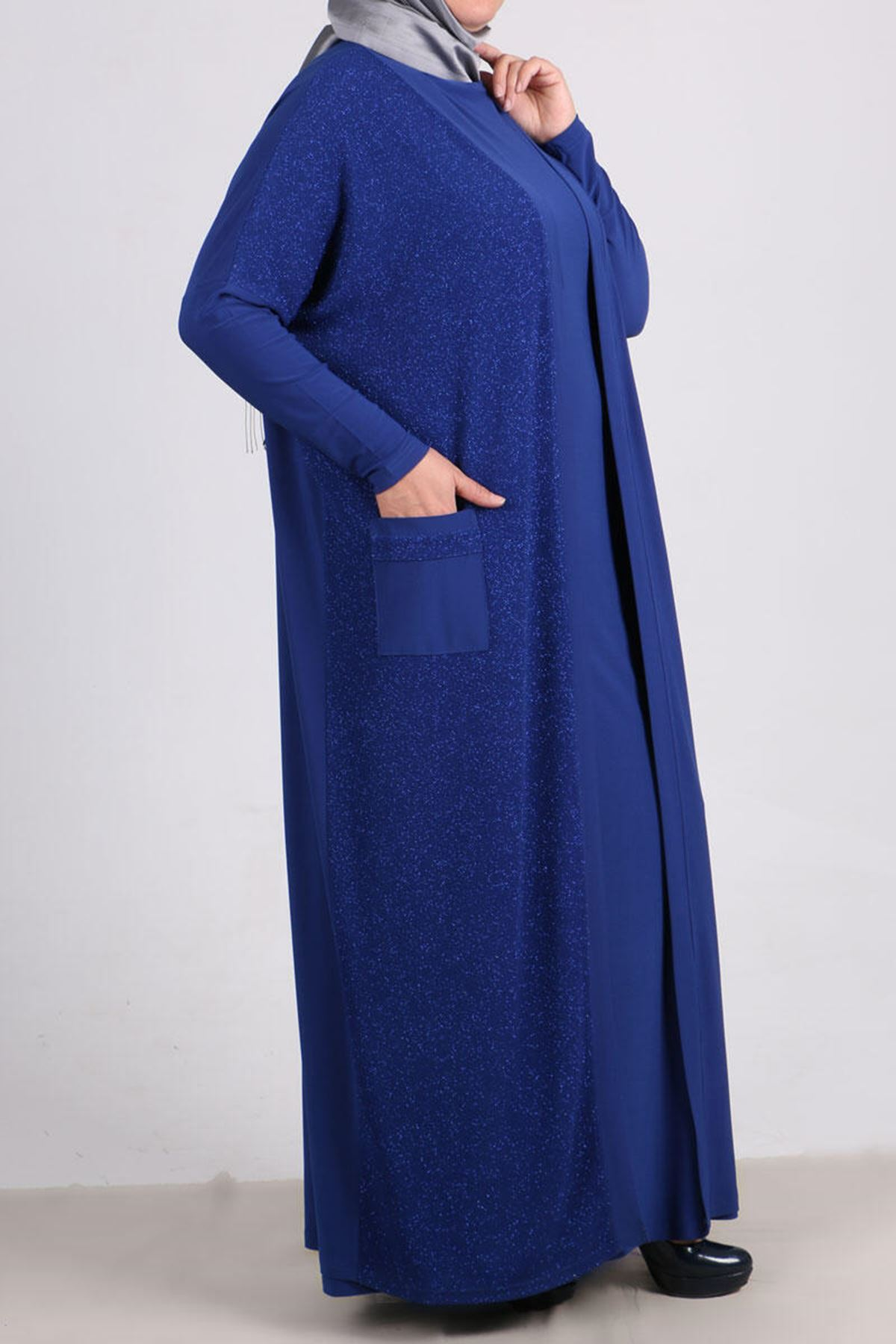 7213 Plus Size Two Piece Set with Dress and Jacket- Saxe