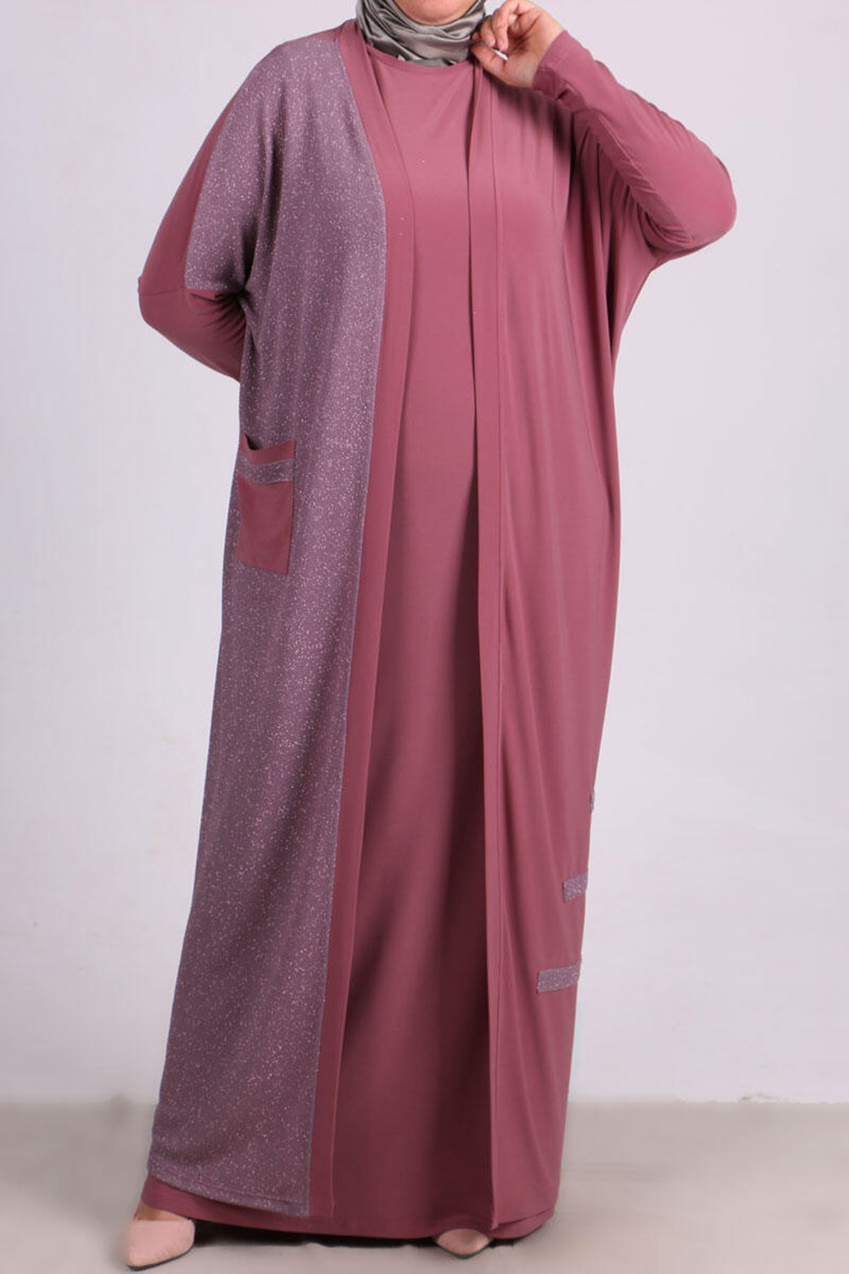7213 Plus Size Two Piece Set with Dress and Jacket - Dusty Rose
