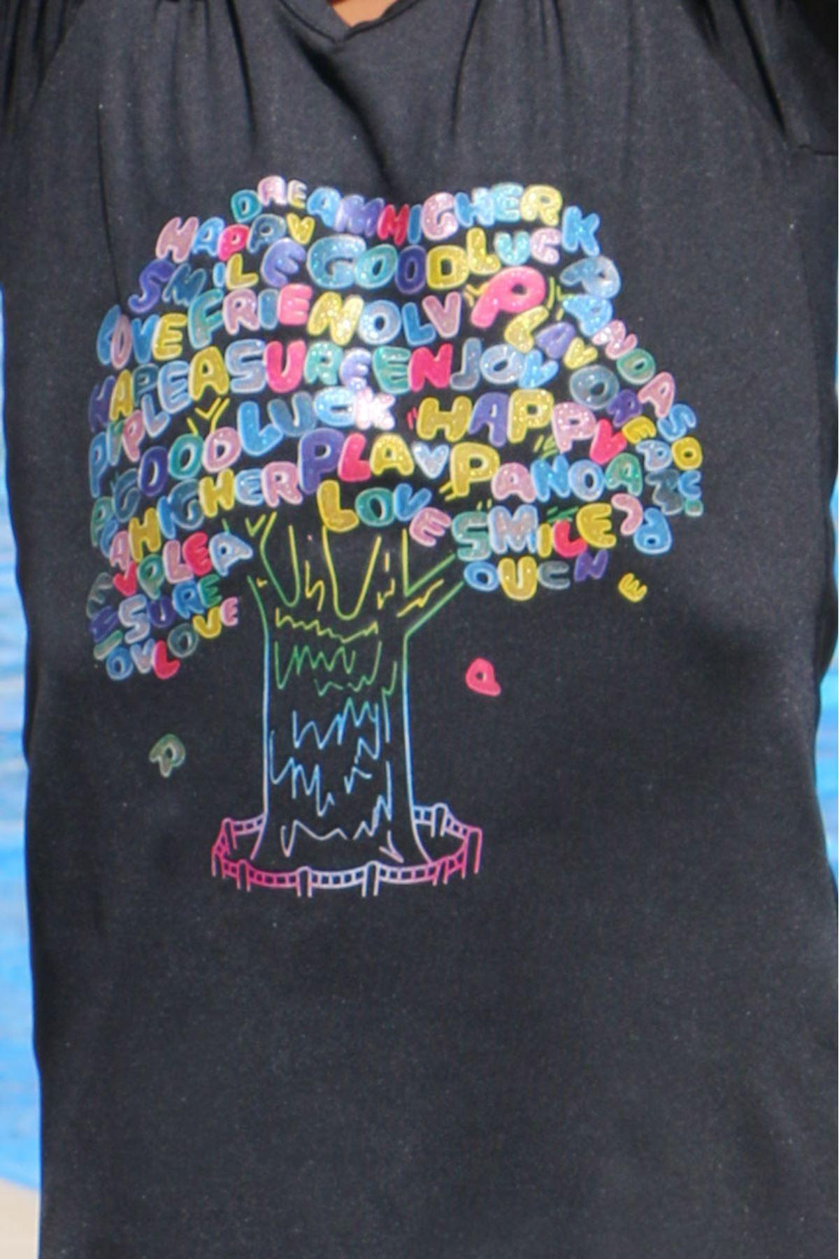 1708 Ağaç Baskılı Çocuk Havuz Mayosu-Siyah