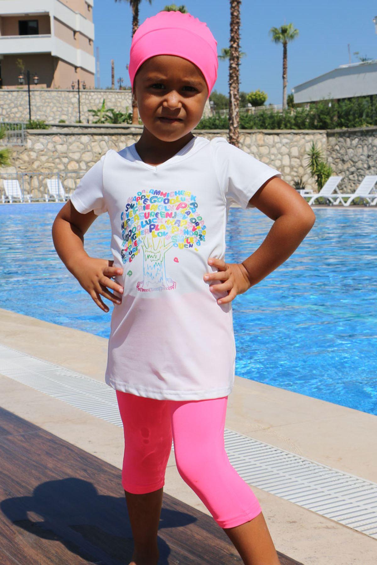 1708 Kids Swimsuit- White - Pink
