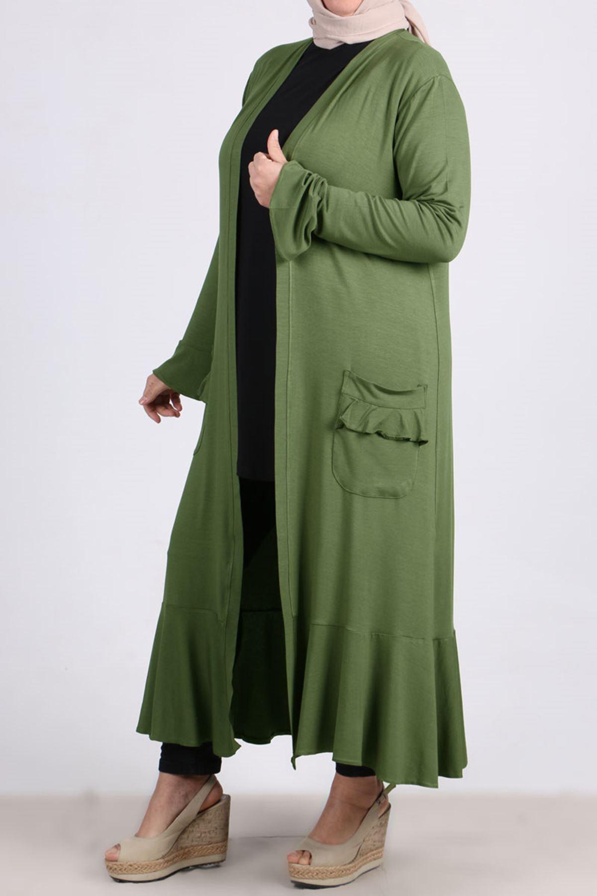 3153 Plus Size Flounced Jacket - Green