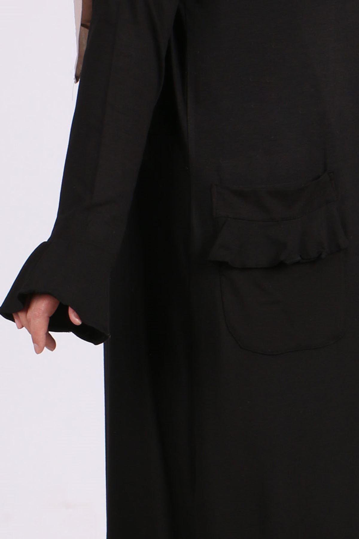 3153 Büyük Beden Volanlı Penye Ceket - Siyah