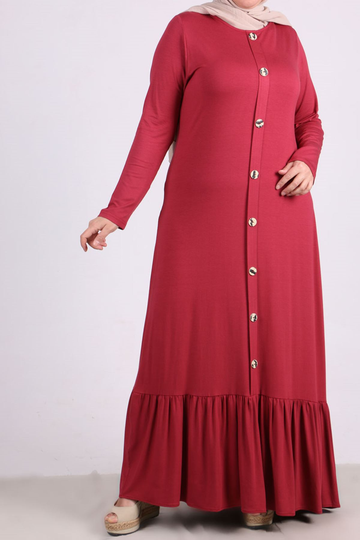 2090 Plus Size Front Buttoned Dress - Dark Rose