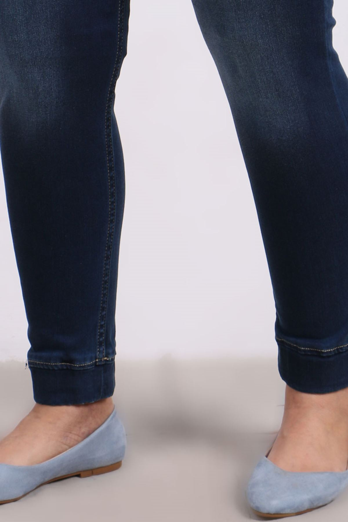 9139-1 Plus Size Elastic Waist Skinny Leg Jeans- Navy Blue