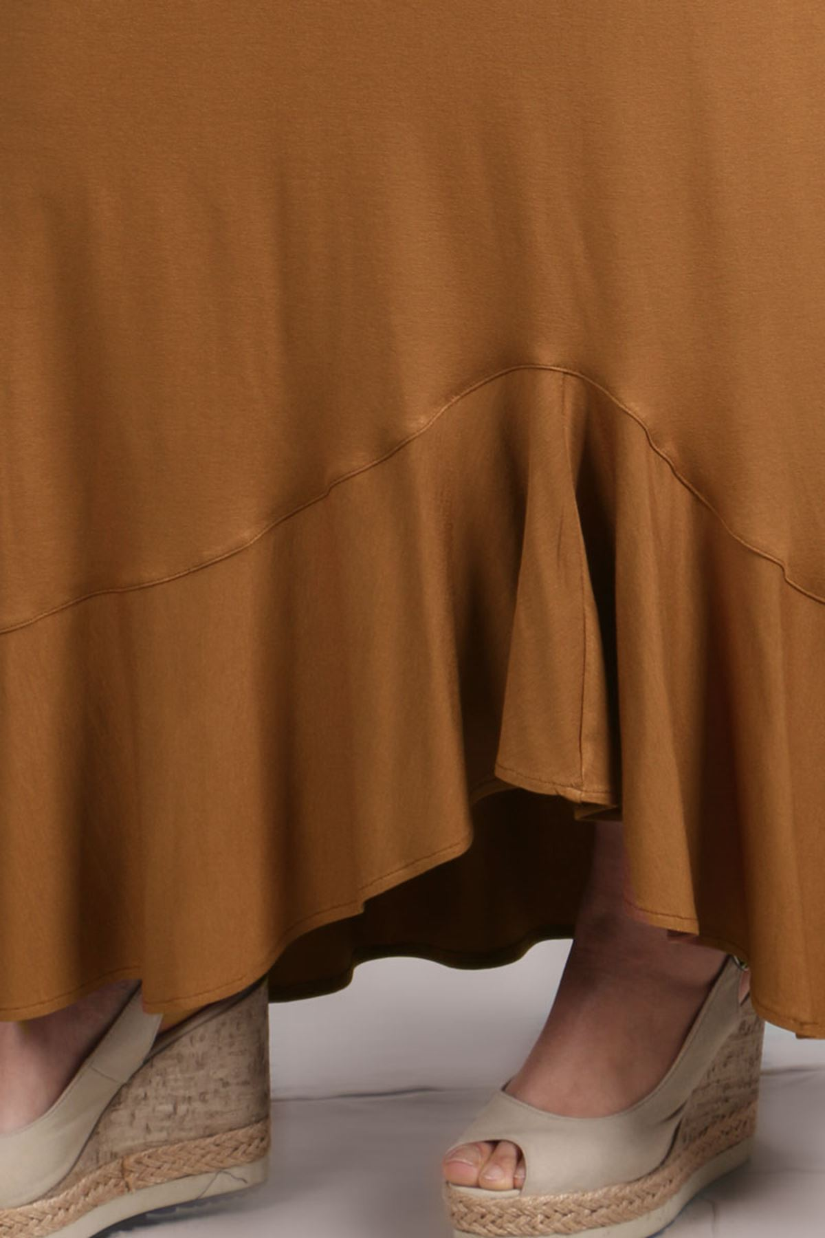 5045 Plus Size Flounce Skirt - Coffee
