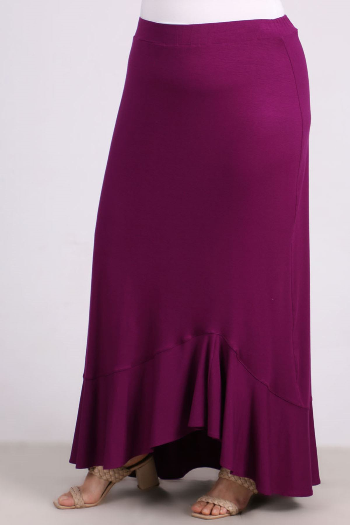 5045 Plus Size Flounce Skirt - Plum