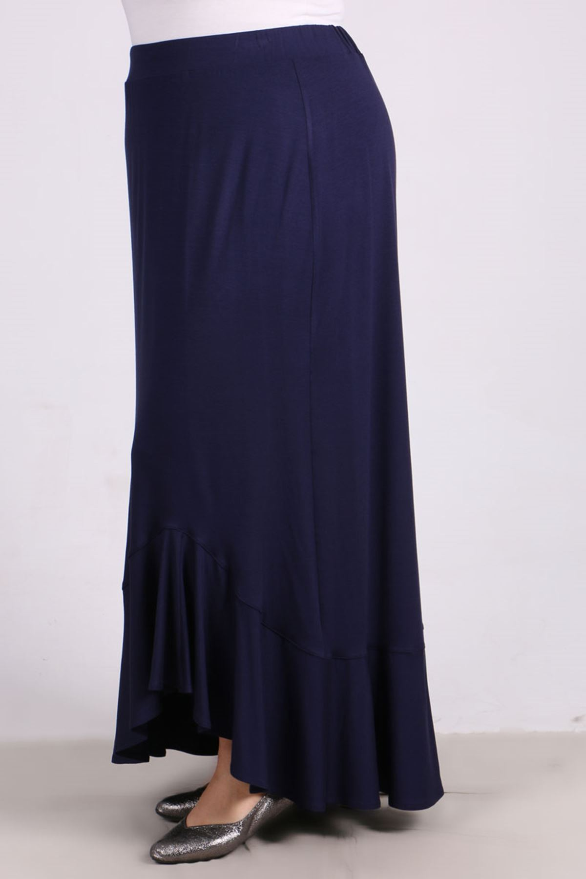 5045 Plus Size Flounce Skirt - Navy Blue