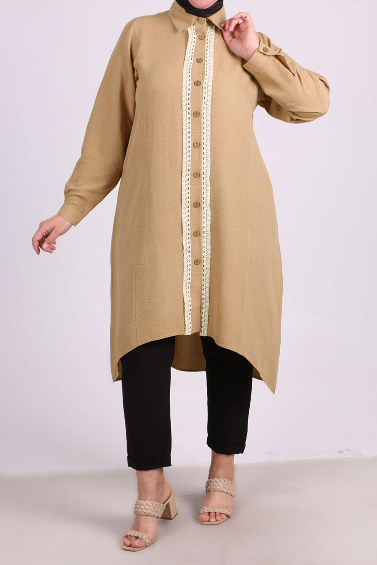 8429 Plus Size Lace Detailed Shirt - Milk Coffee