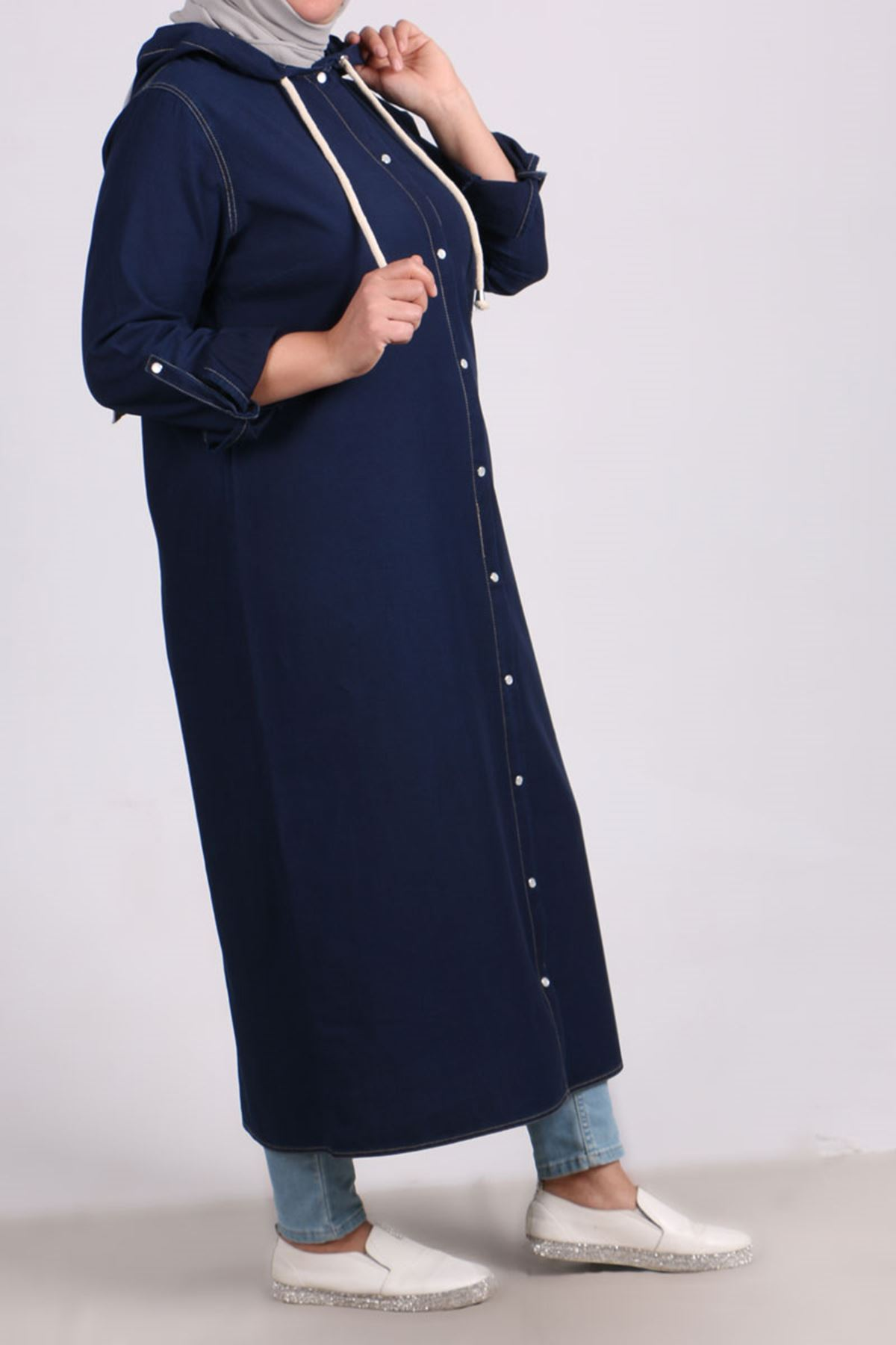 3148 Plus Size Snap Fastener Hooded Denim Jacket - Navy Blue