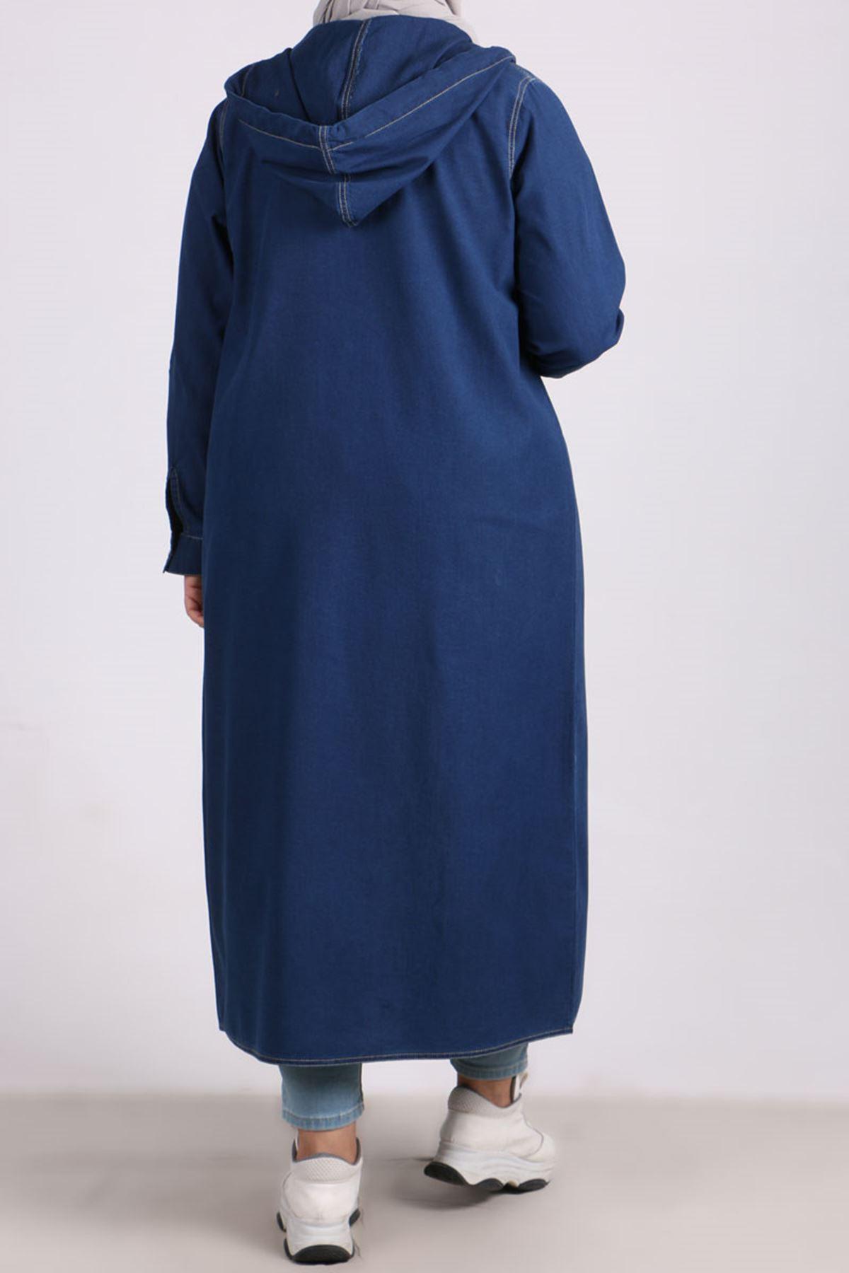 3148 Plus Size Snap Fastener Hooded Denim Jacket - Blue