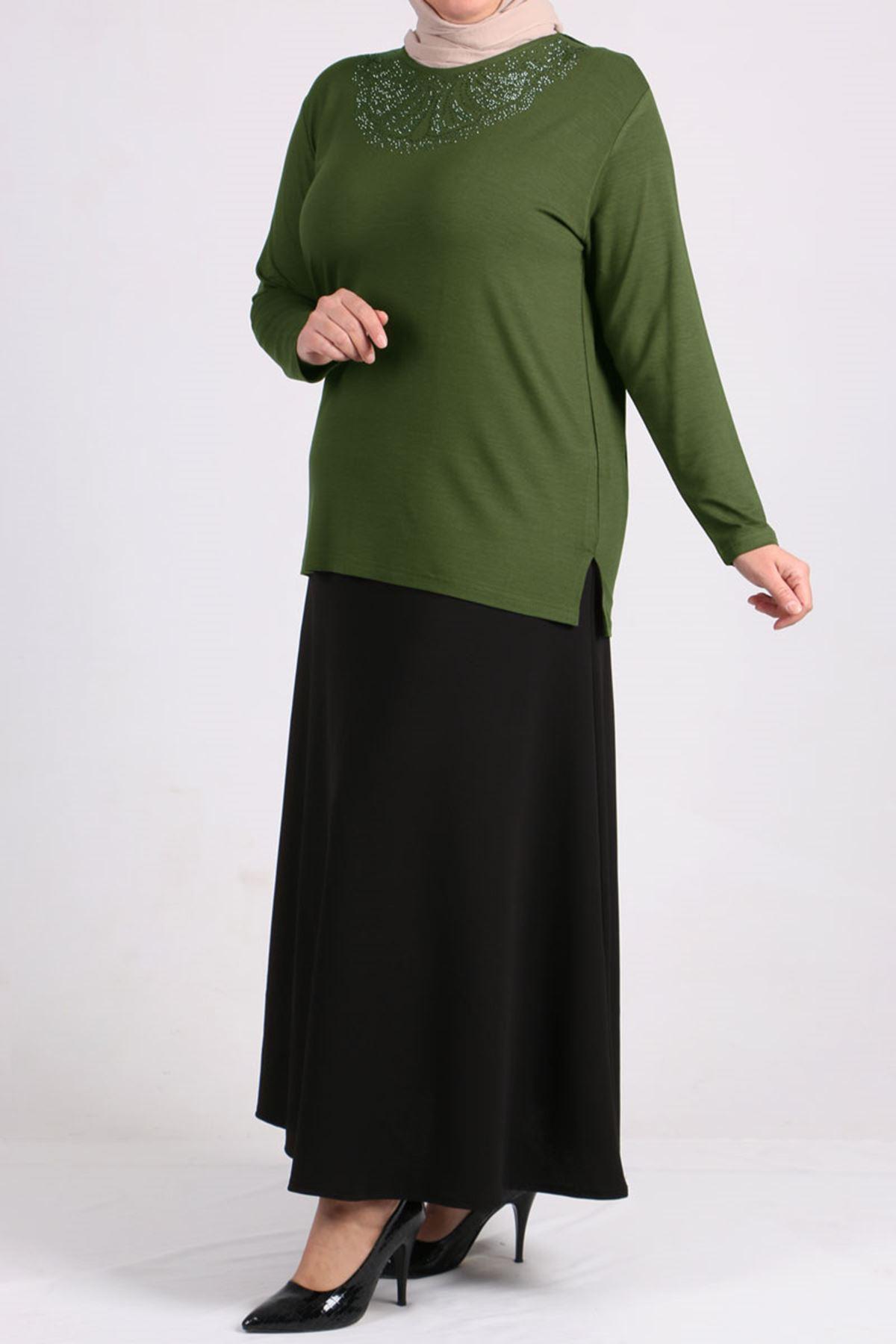 8447 Front Side Stony Plus Size Tunic - Khaki