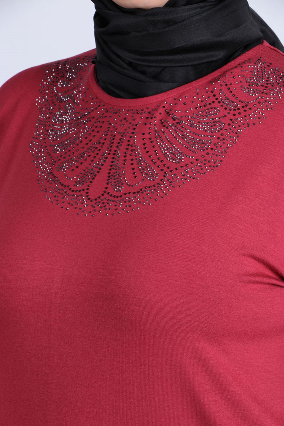 8447 Front Side Stony Plus Size Tunic - Dark Rose