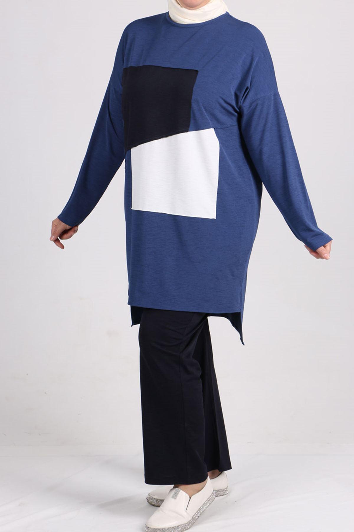 7696 Büyük Beden Renk Kombinli Mina Pantalonlu Takım  İndigo-Lacivert