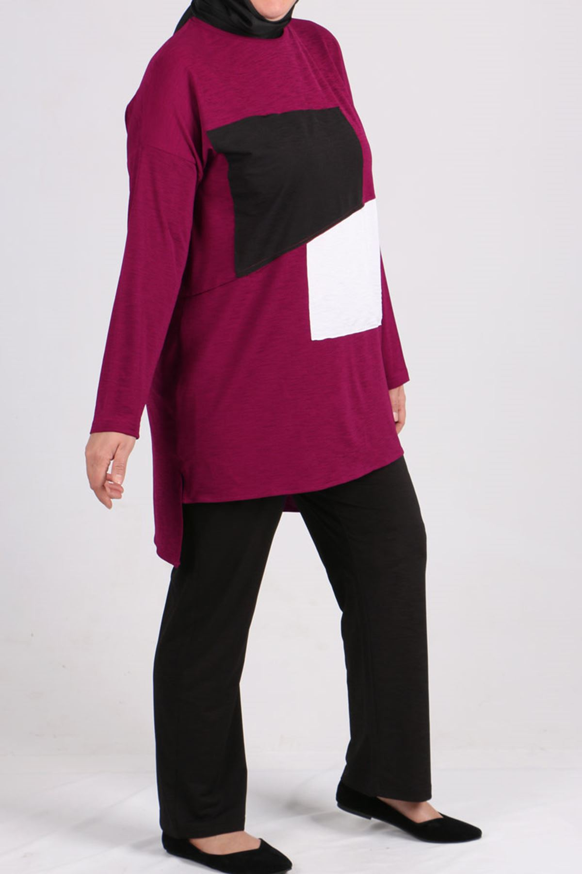7696 Plus Size Two Piece Set with Tunic and Pants- Plum-Black