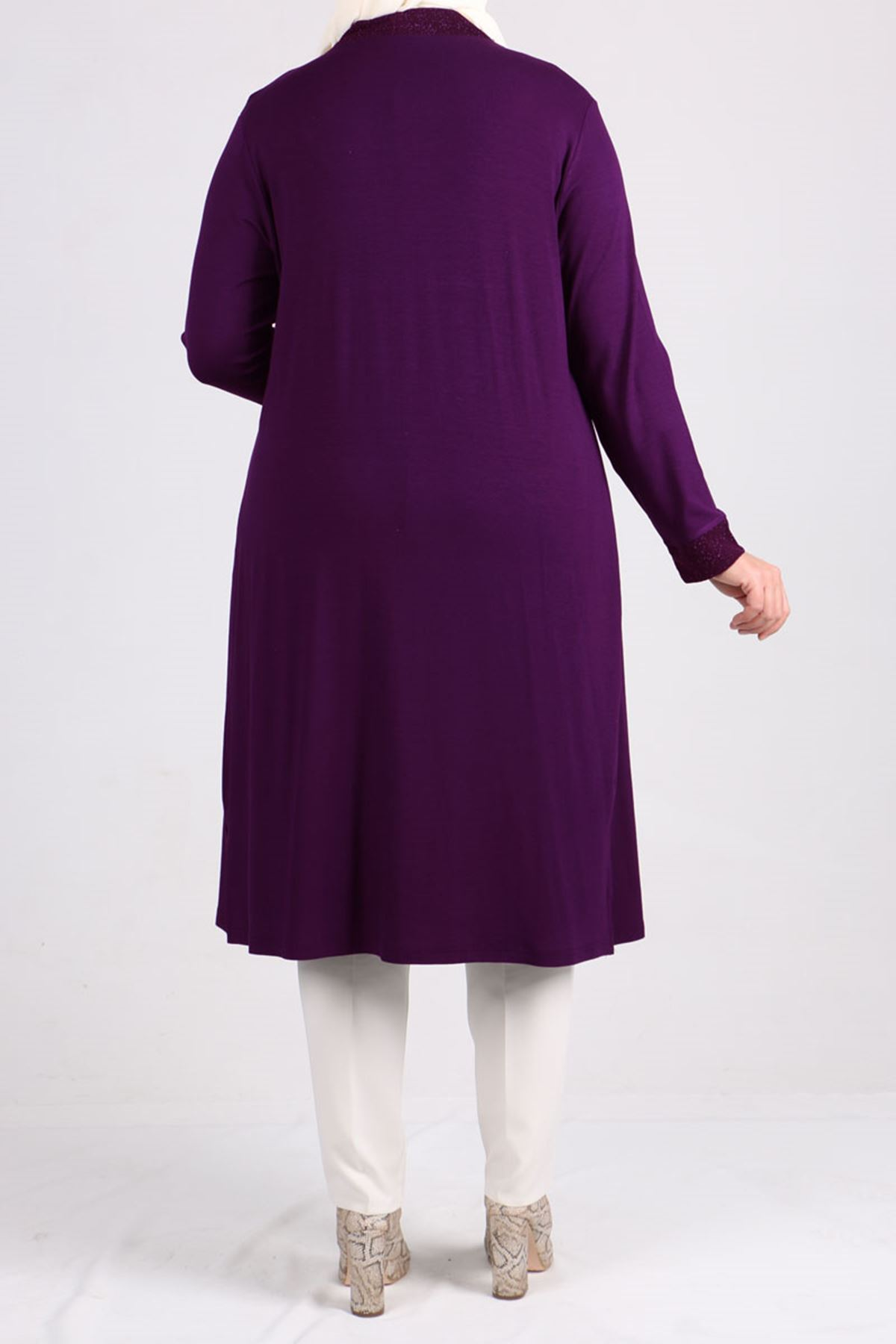 7112 Plus Size Two Piece Set with Tunic and Jacket- Purple