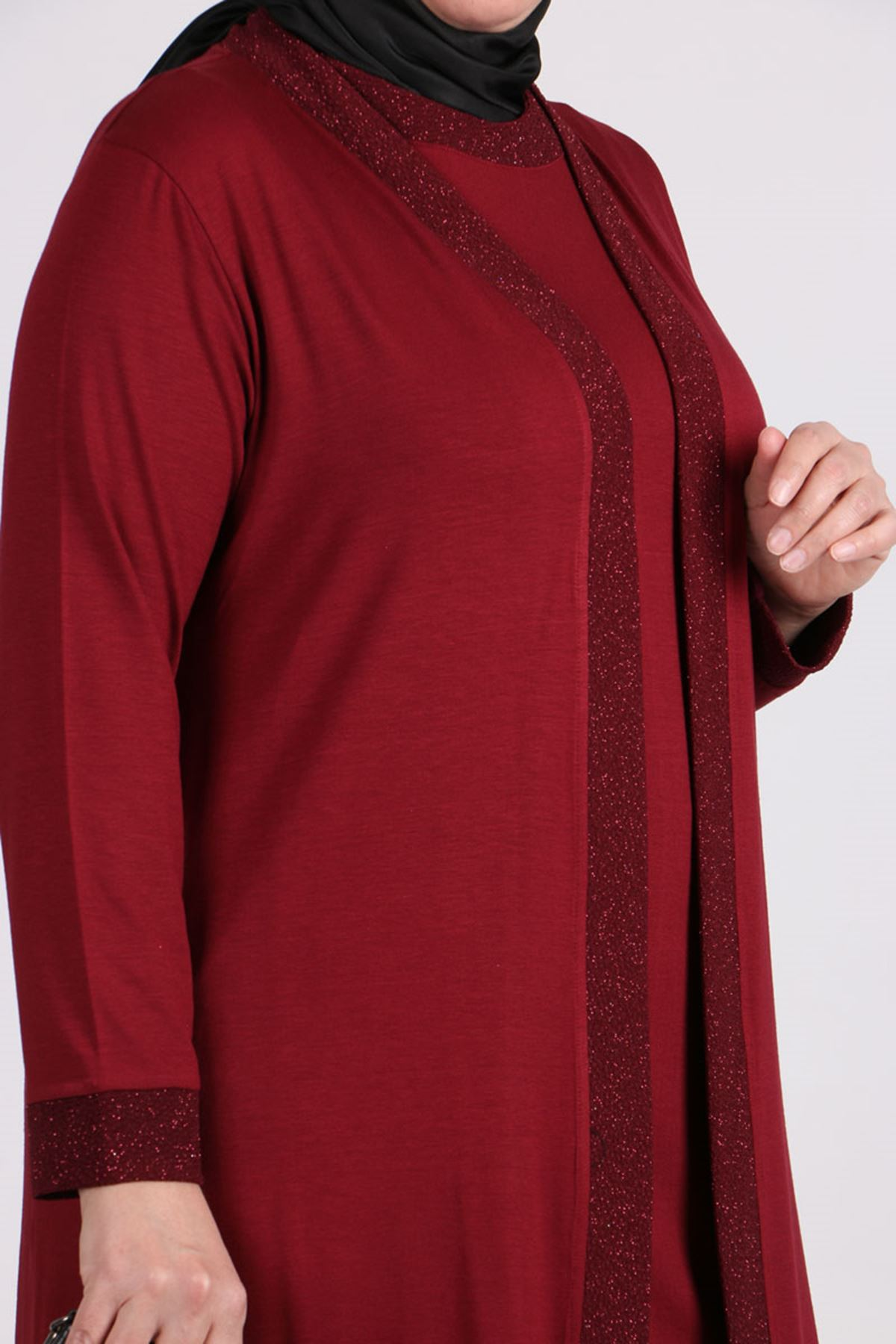 7112 Plus Size Two Piece Set with Tunic and Jacket- Claret Red
