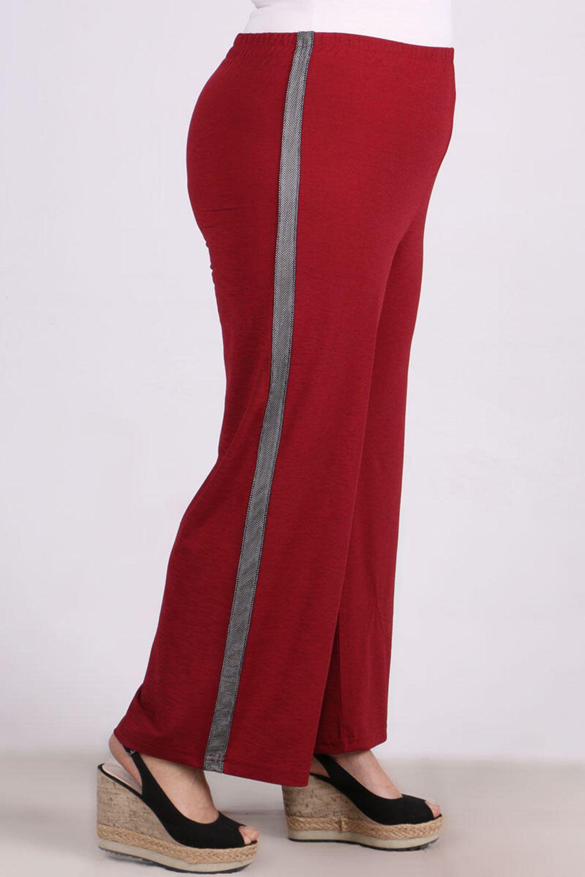 9141 Plus Size Pants - Claret Red
