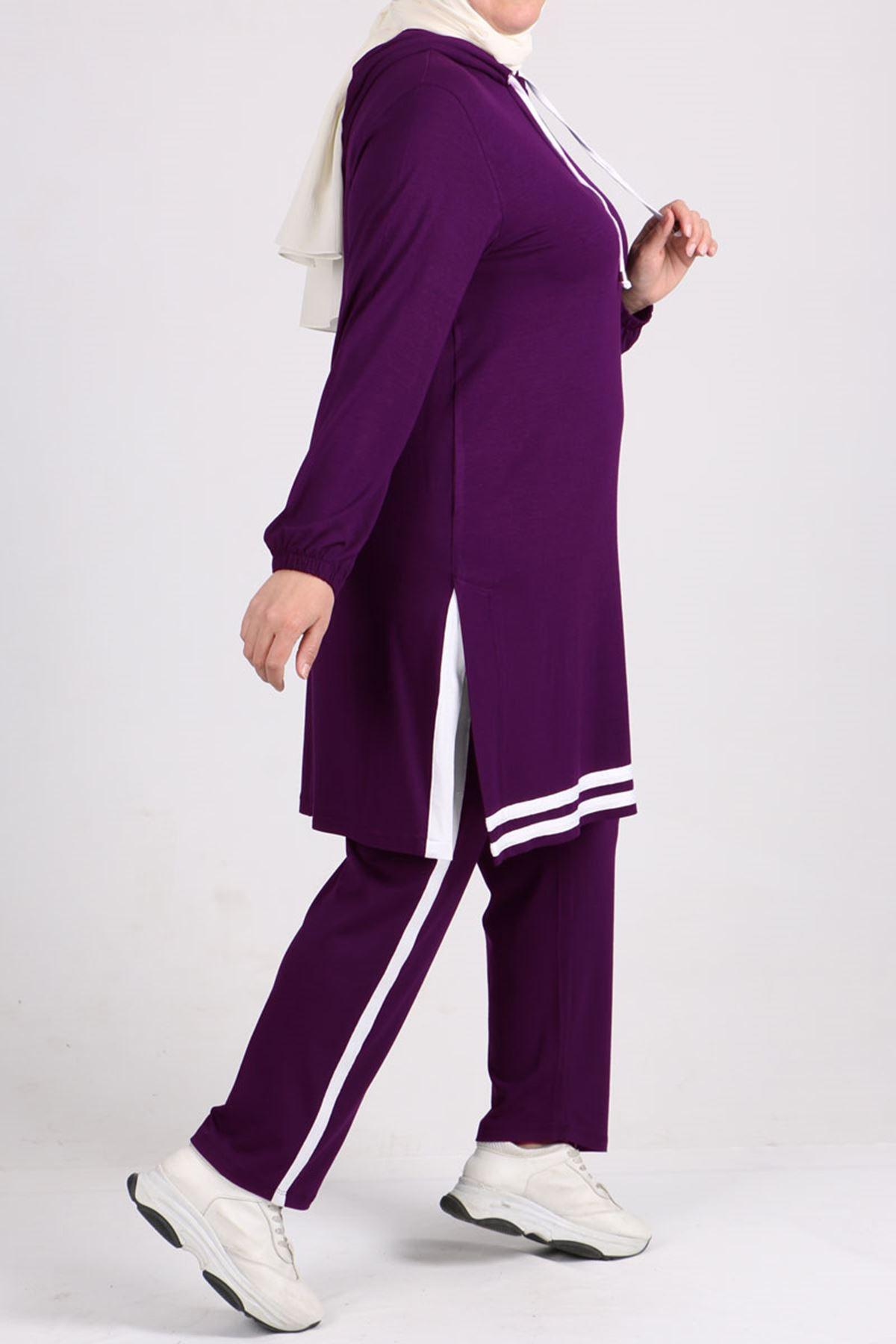 7689 Büyük Beden Şeritli Penye Pantalonlu Takım - Mor