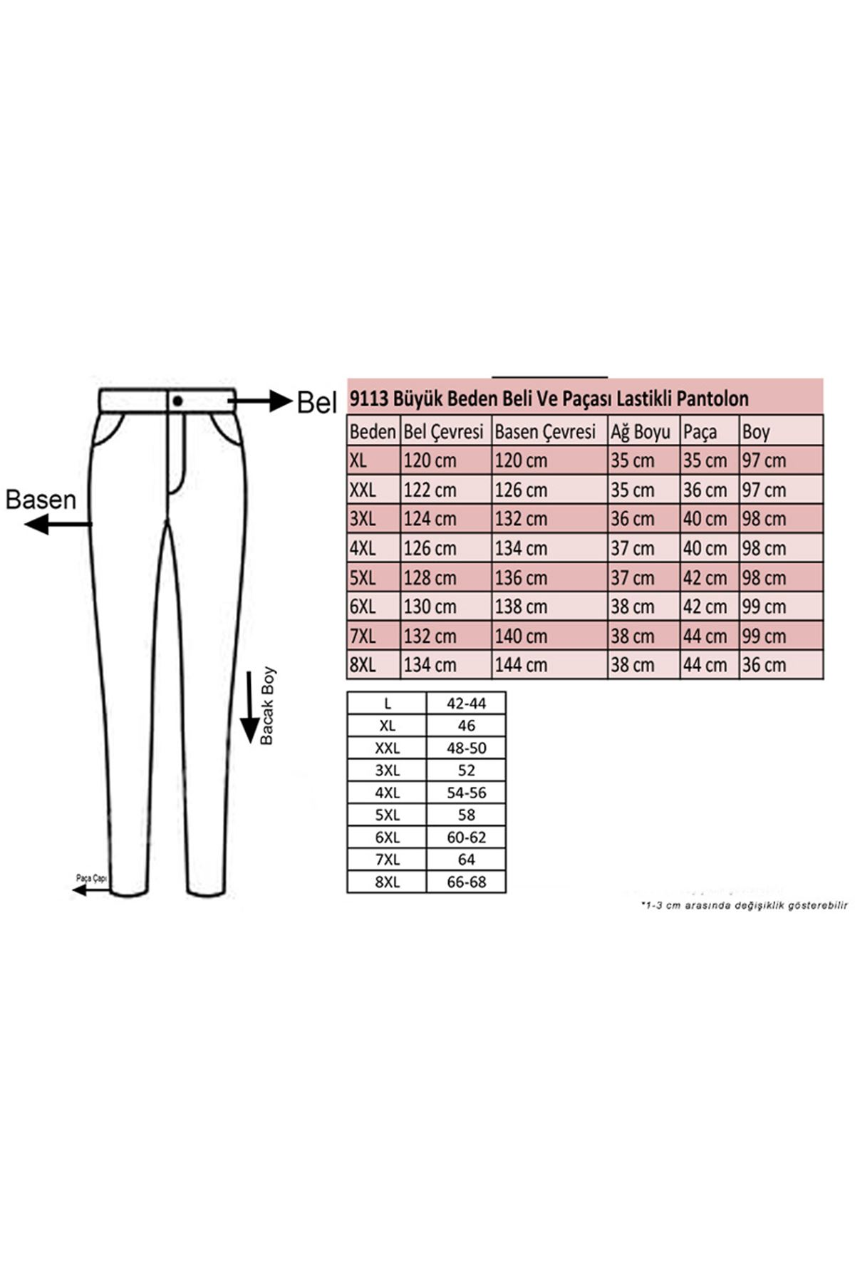 9113 Plus Size Pants with Elastic Waist and Trotters - Khaki
