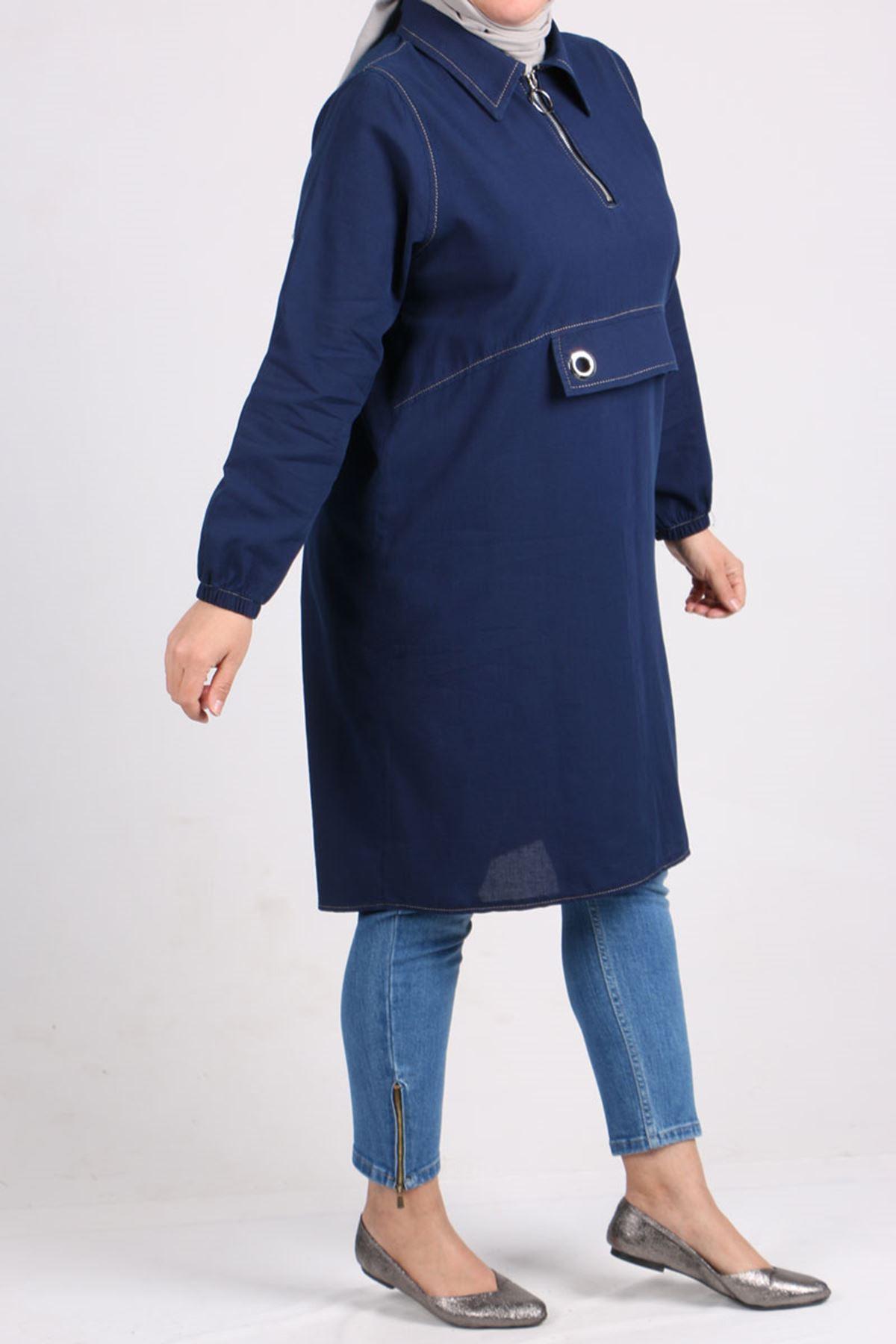 8436 Plus Size Bird Eye Detailed Denim Tunic - Navy Blue
