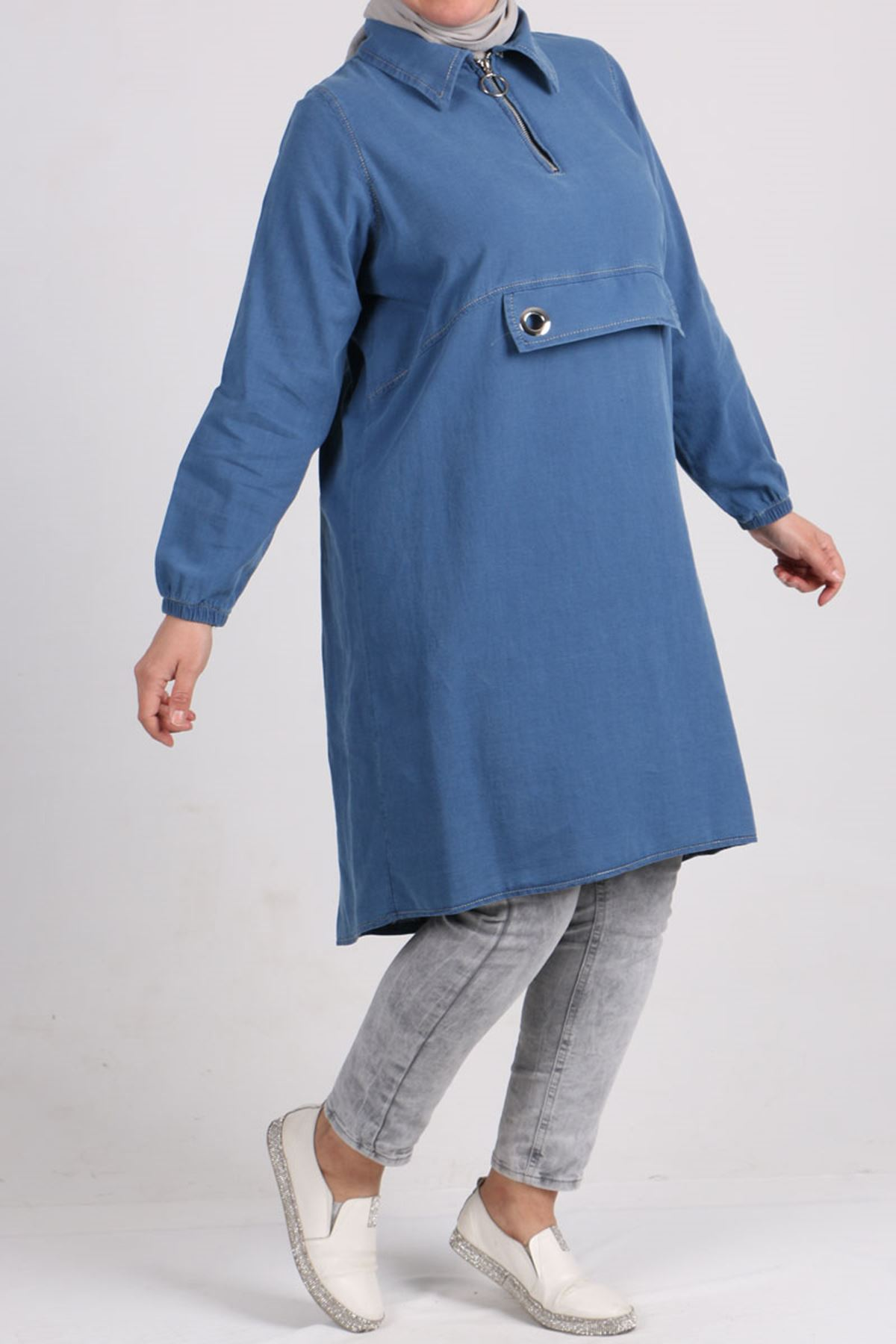 8436 Plus Size Bird Eye Detailed Denim Tunic - Blue