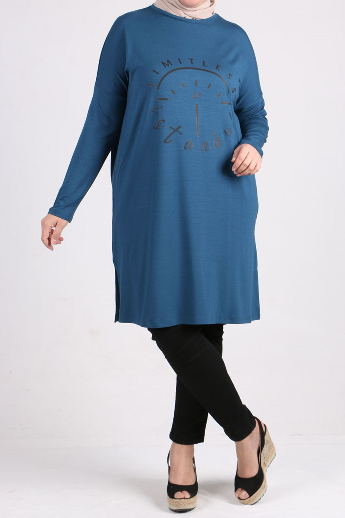 8450 Plus Size Tunic  with Low Sleeve - Petrol