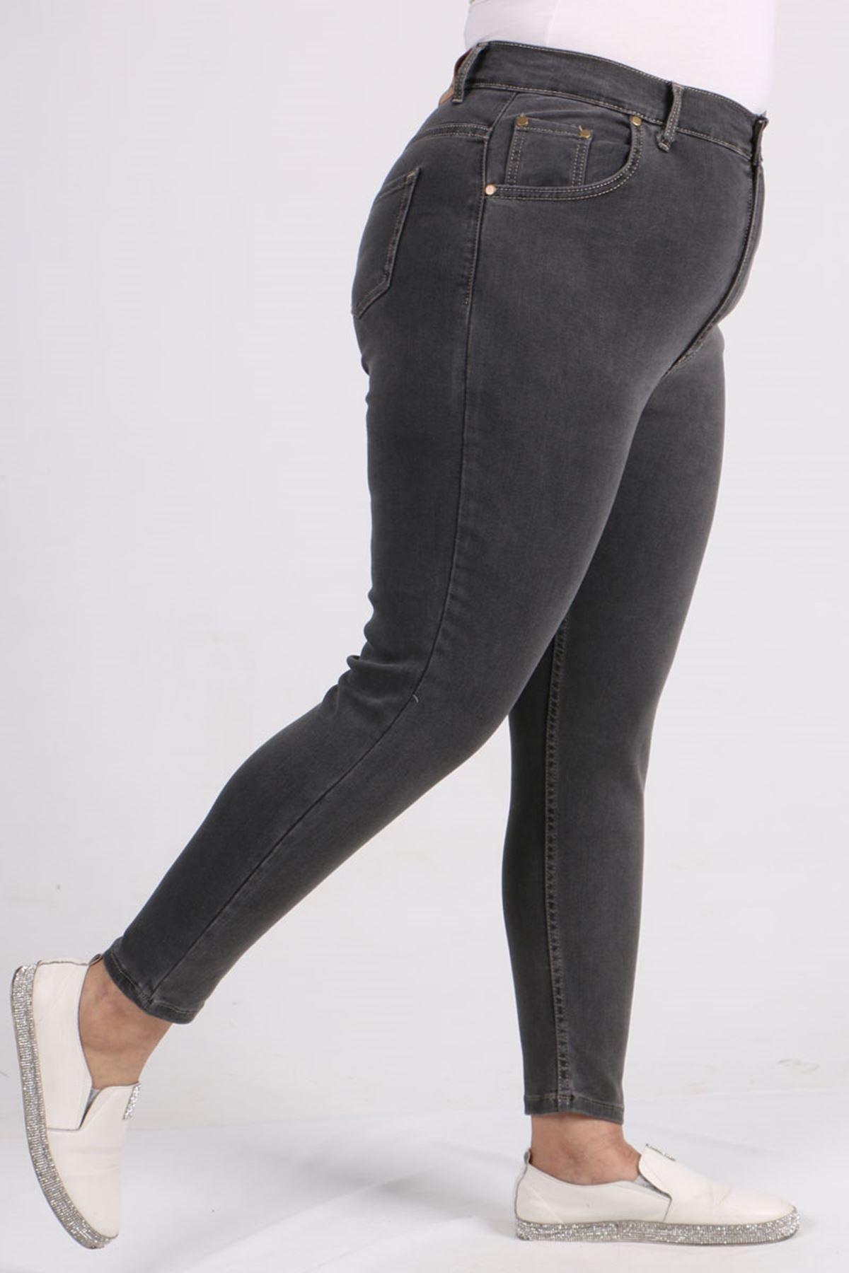 9107-1 Plus Size Skinny Leg Jeans - Anthracite