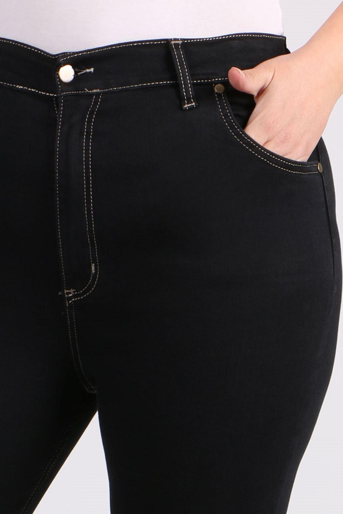 9107-1 Büyük Beden Dar Paça Kot Pantalon-Siyah