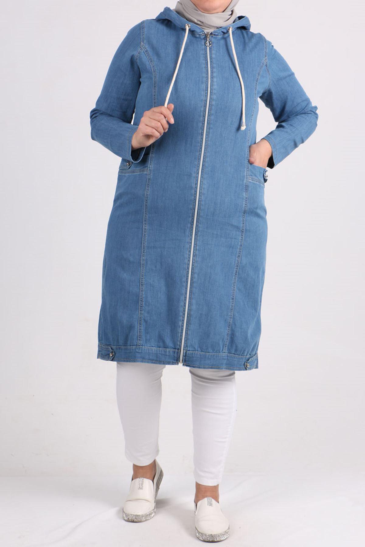 3147 Plus Size  Zippered Denim Coat- Blue