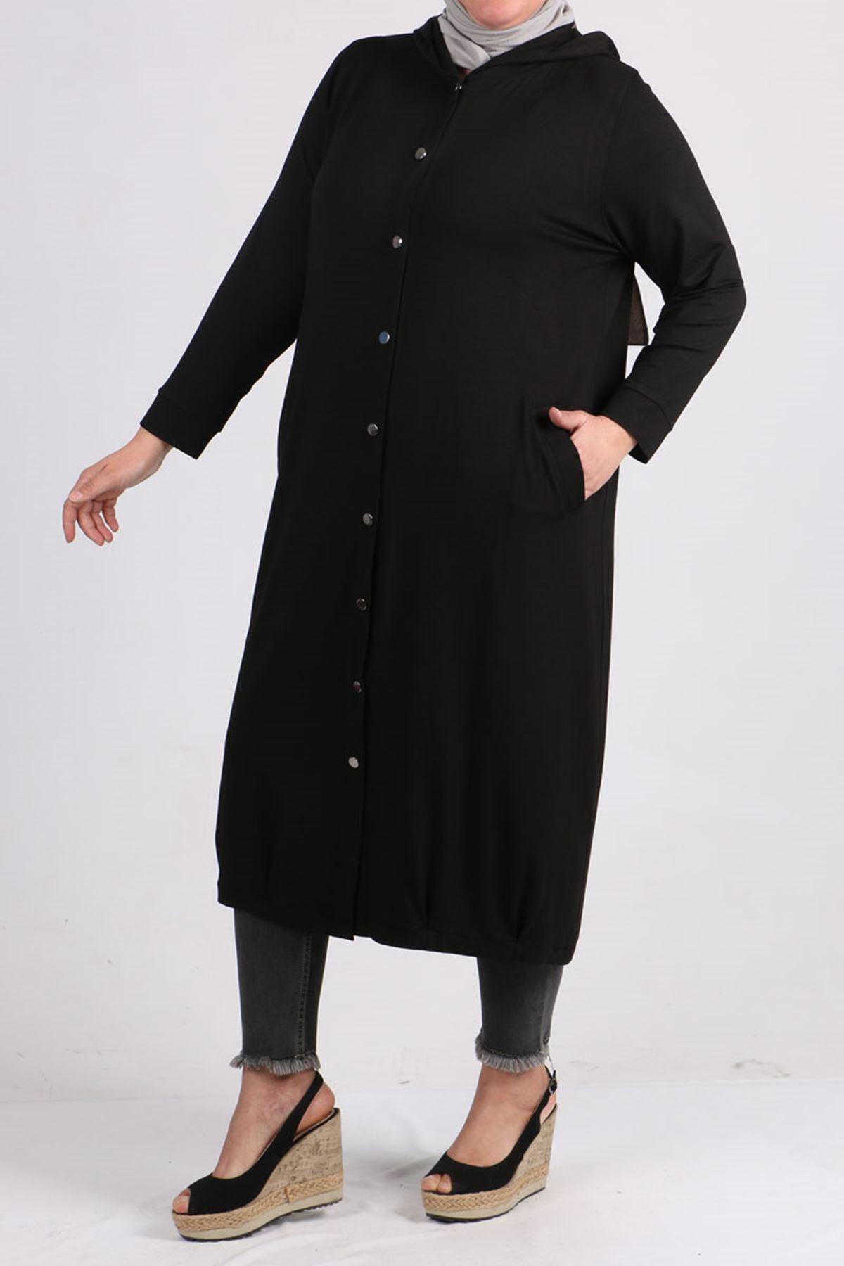 3152 Büyük Beden Çıtçıtlı Penye Ceket - Siyah