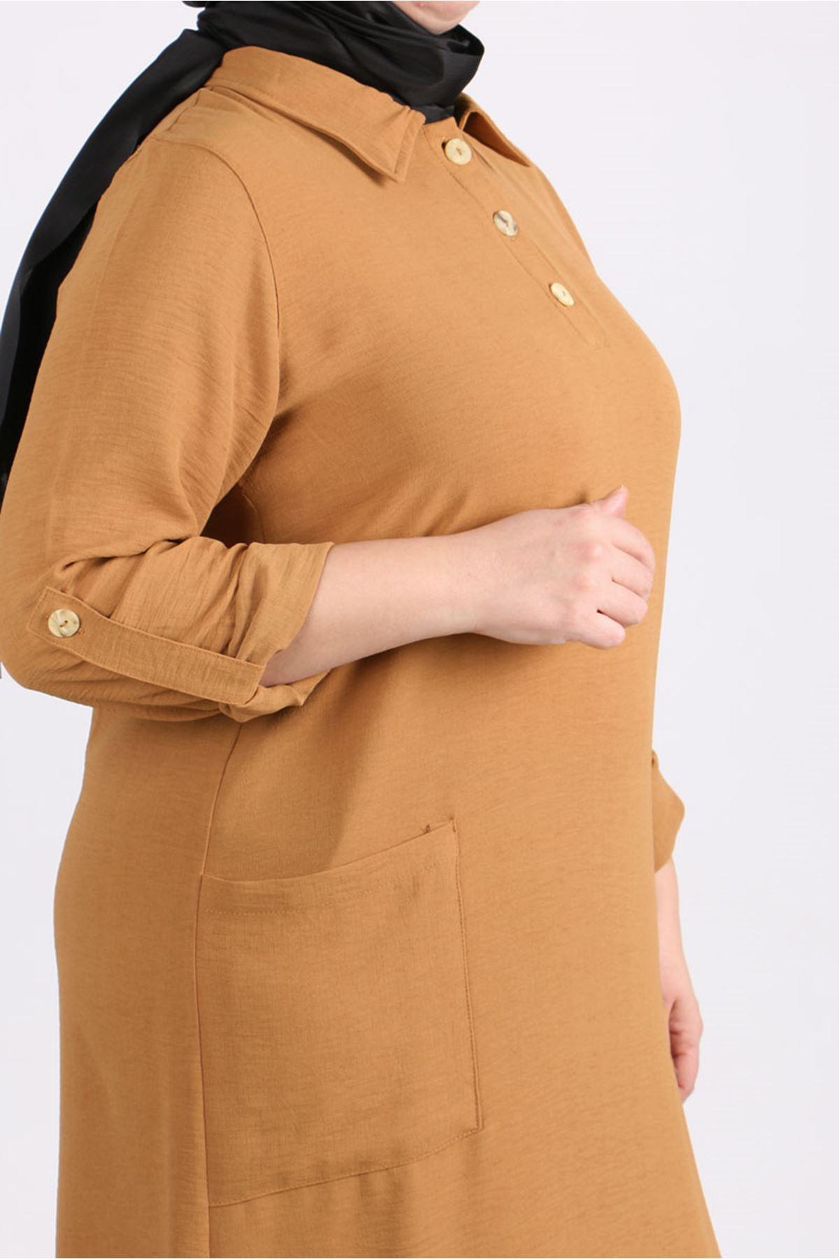 8408 Plus Size Tunic-  Tan