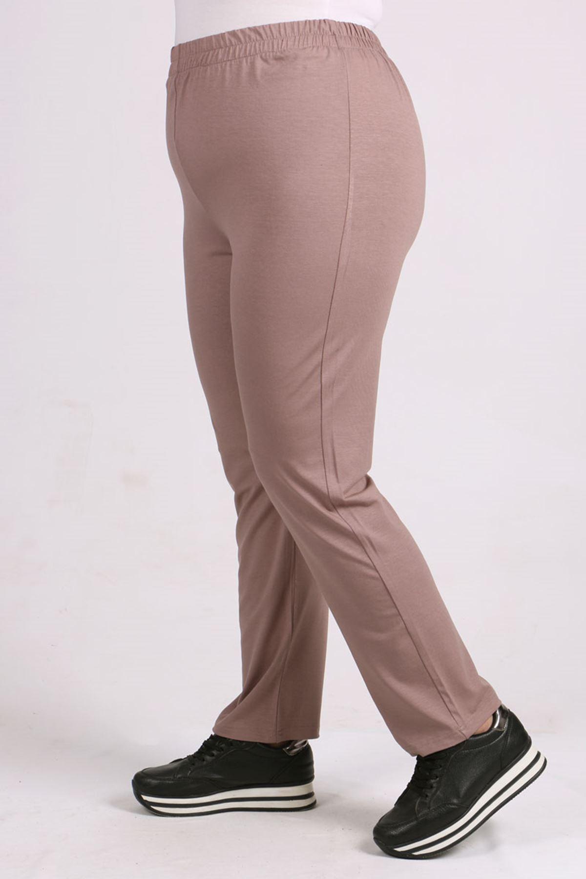 9057 Plus Size High Waist Elastic Pants - Mink