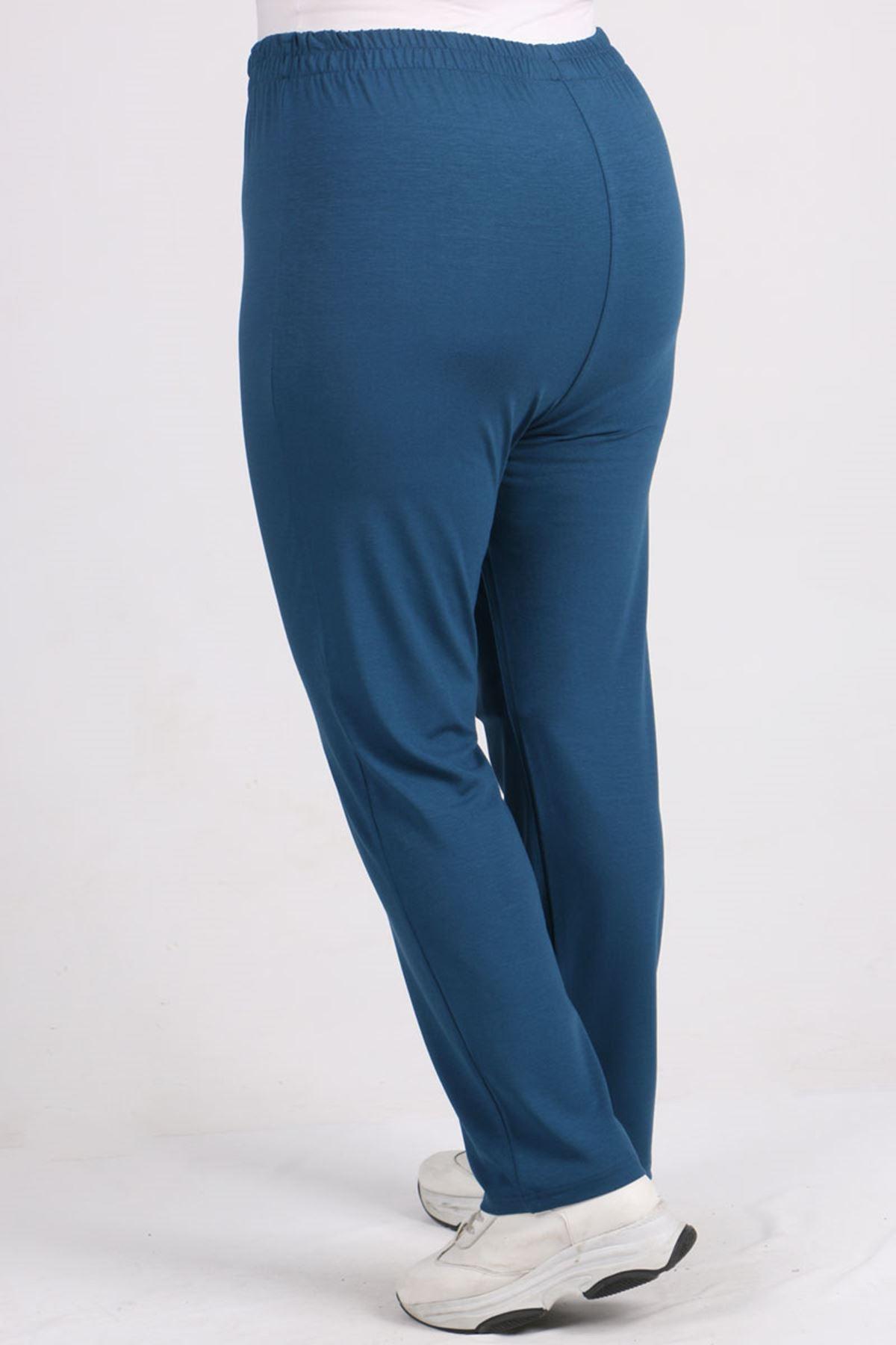 9057 Plus Size High Waist Elastic Pants - Petrol