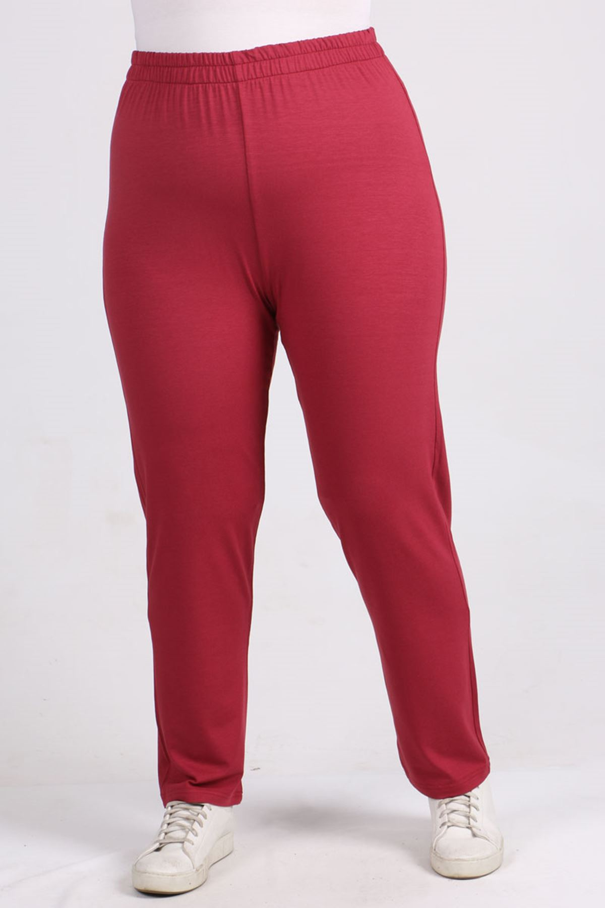 9057 Plus Size High Waist Elastic Pants - Dark Rose